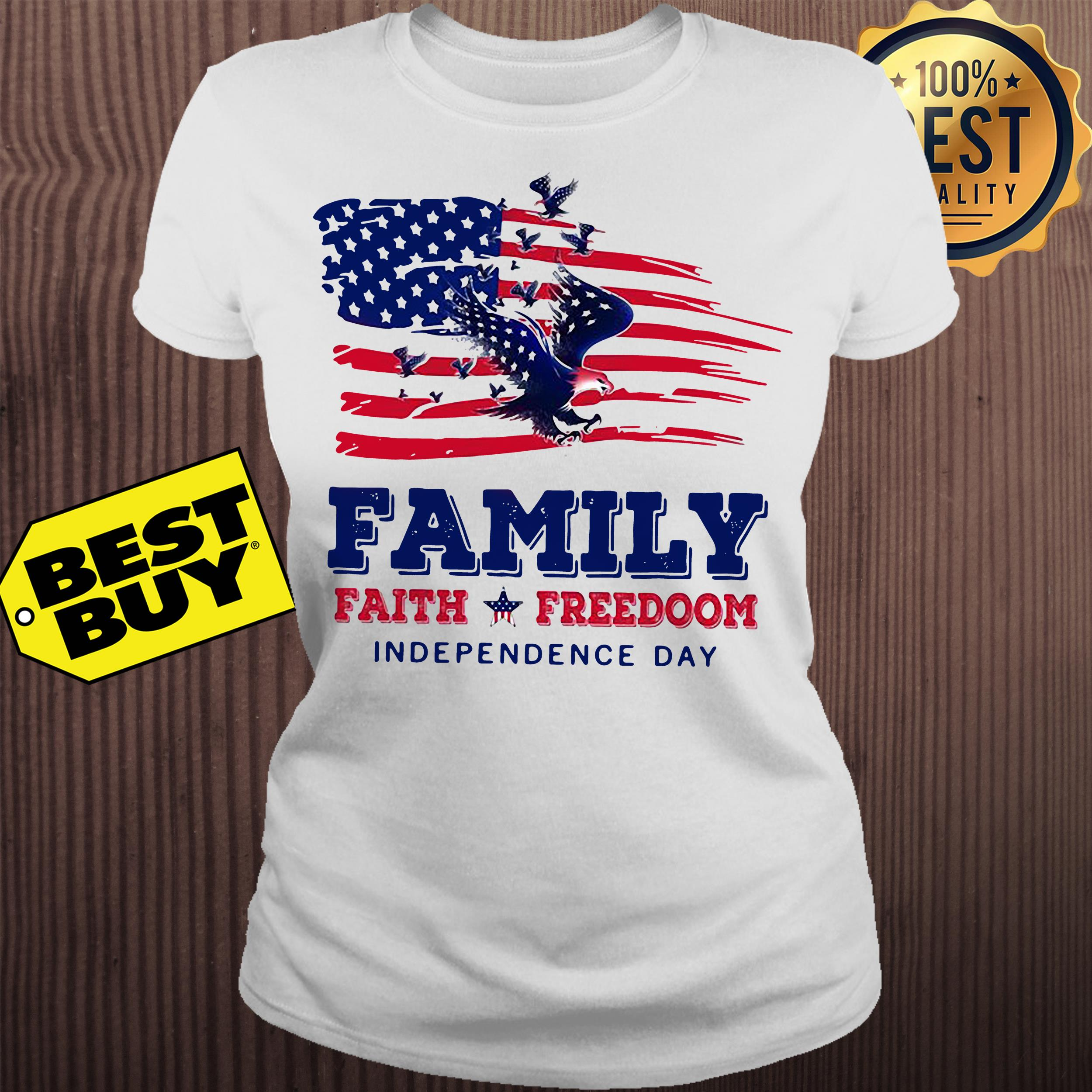 Family faith Freedoom Independence day American flag ladies tee
