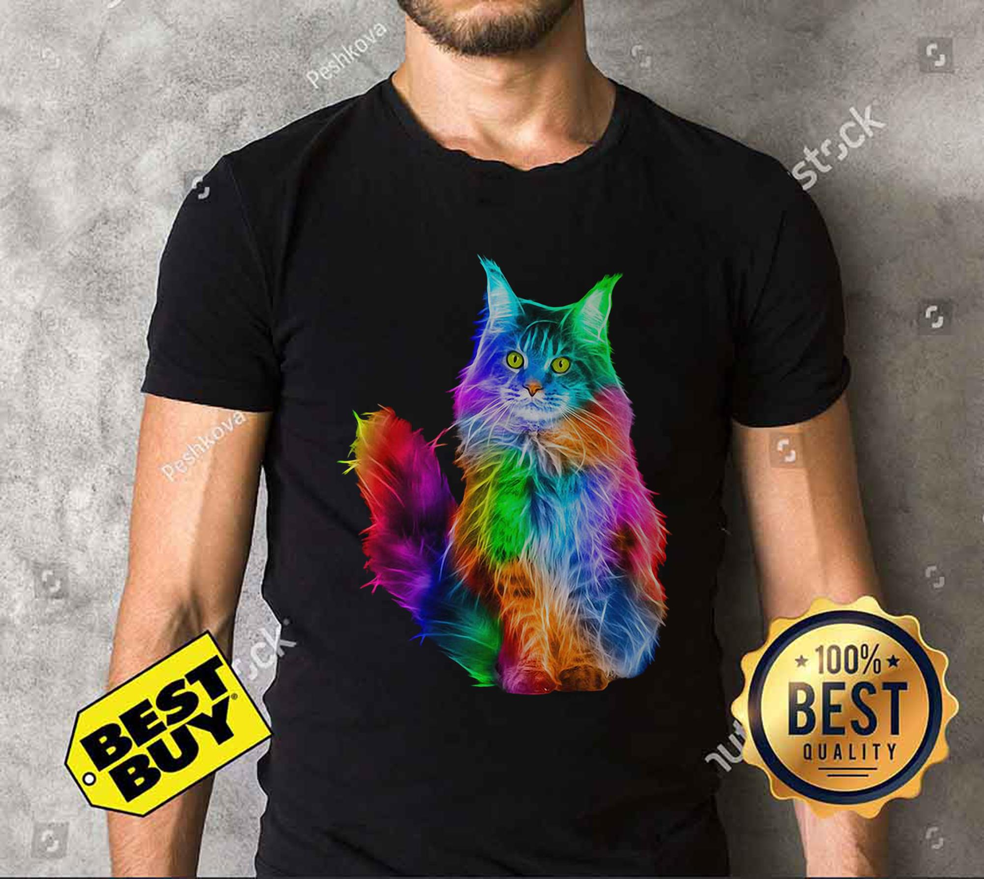 Gay Pride Rainbow Cat LGBT v-neck