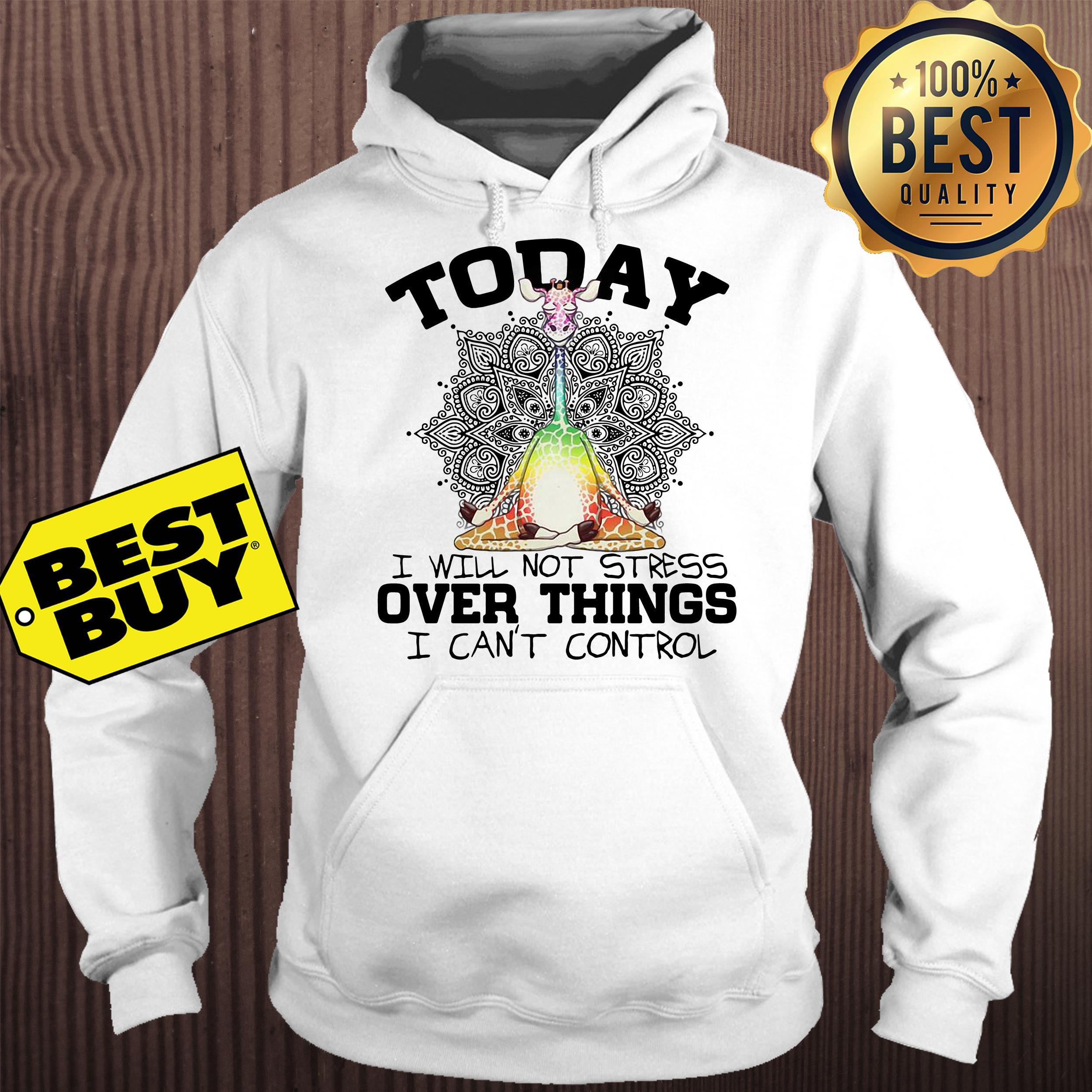 Giraffe Yoga today I will not stress over things I can't control hoodie