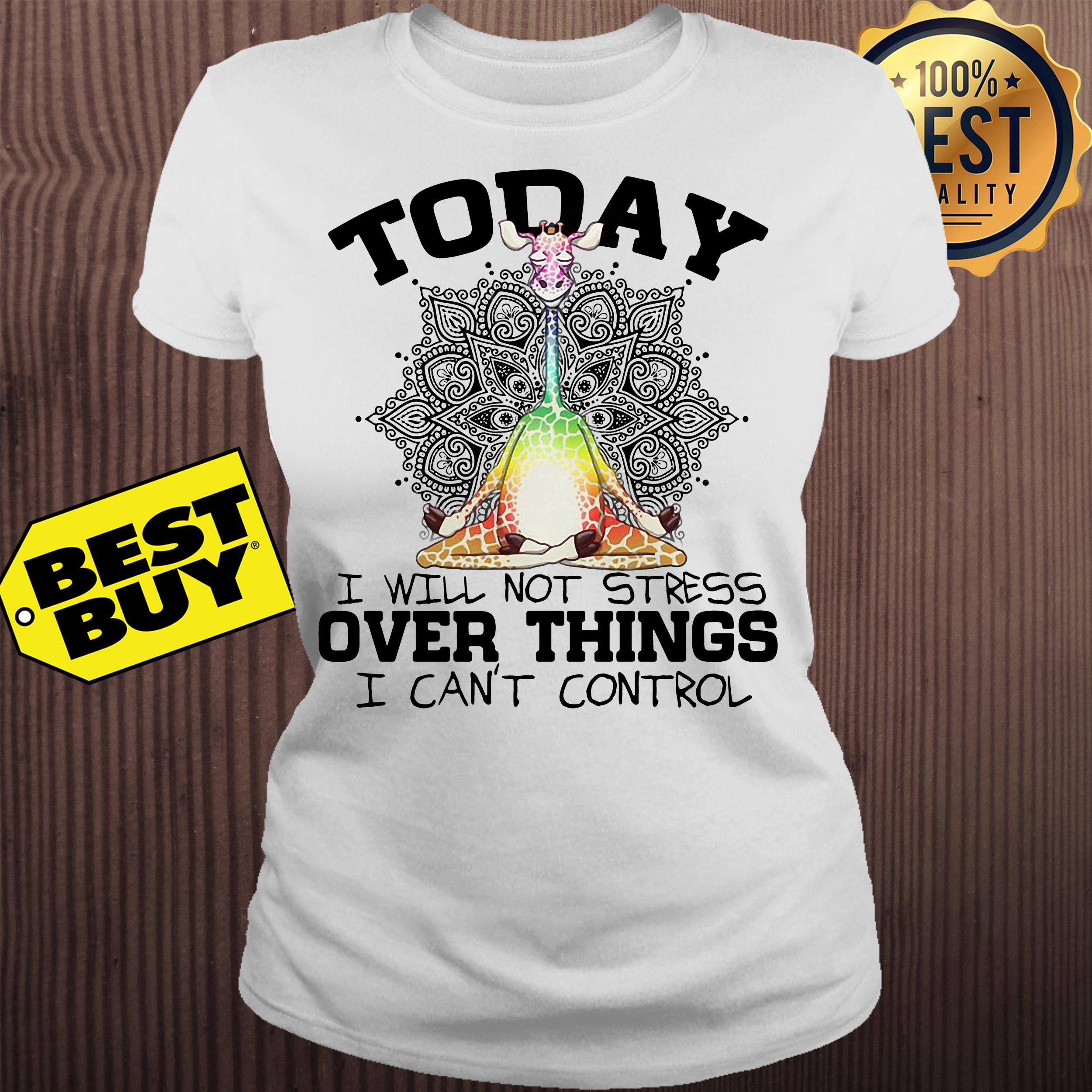 Giraffe Yoga today I will not stress over things I can't control ladies tee