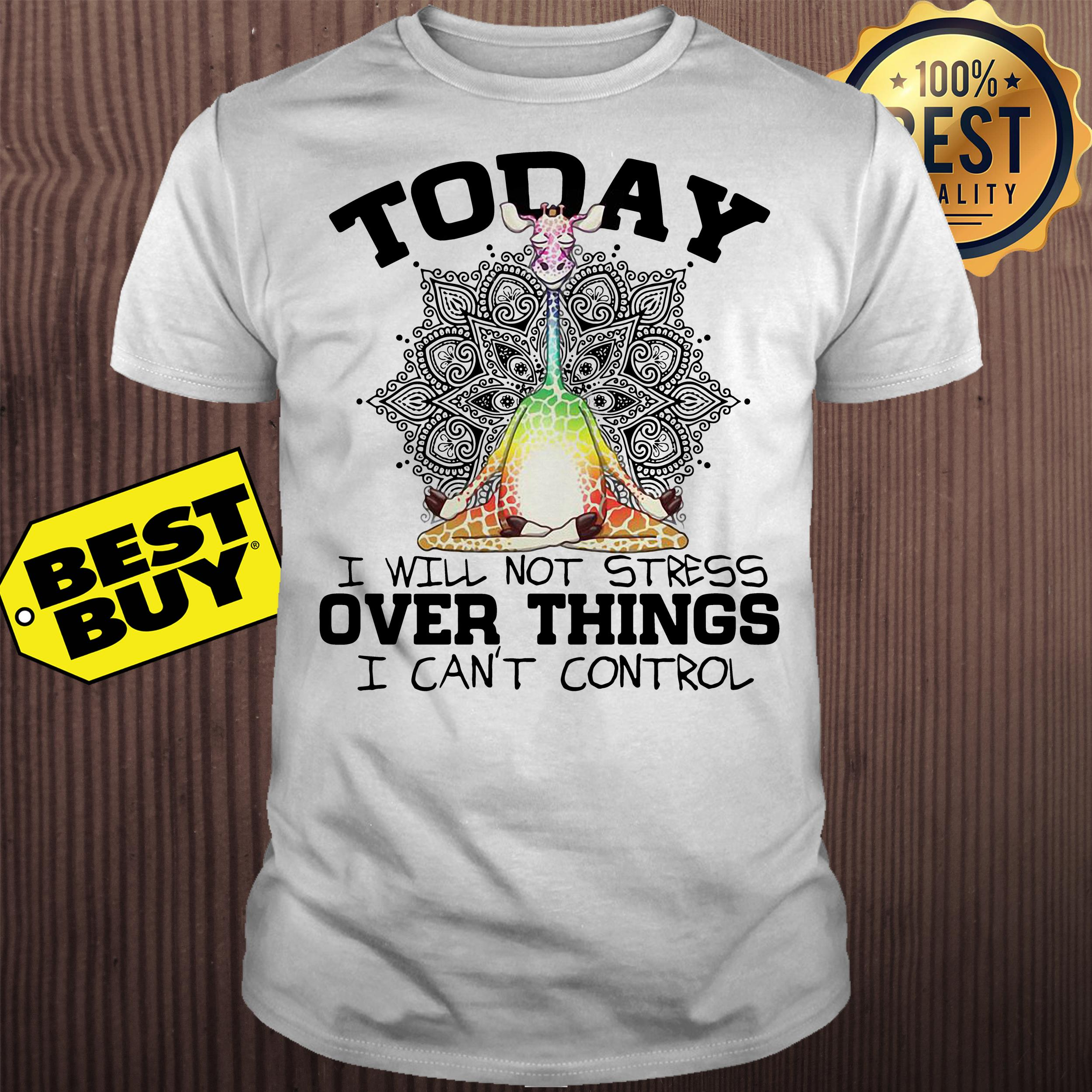 Giraffe Yoga today I will not stress over things I can't control shirt