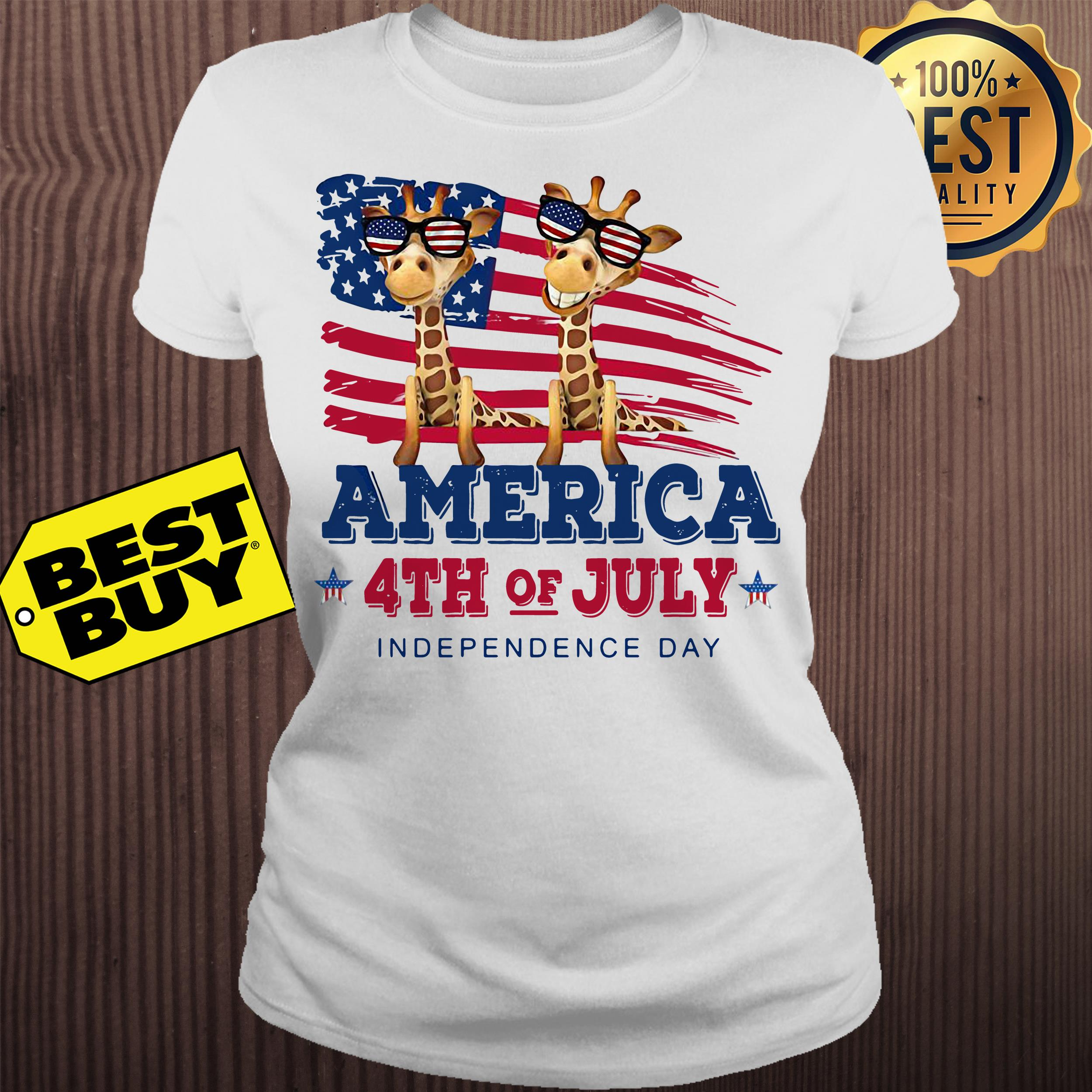 Giraffes America 4th July independence day ladies tee