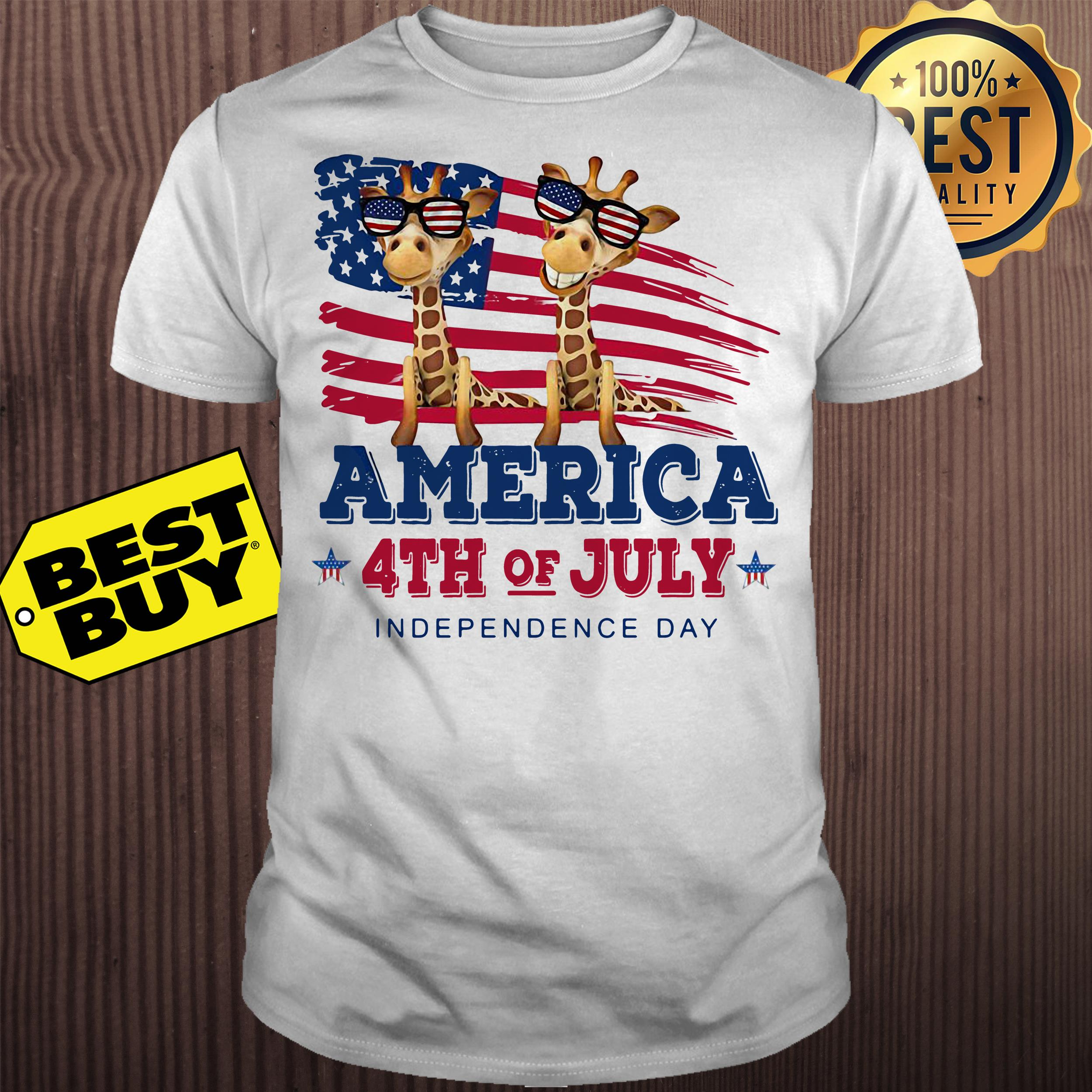 Giraffes America 4th July independence day shirt