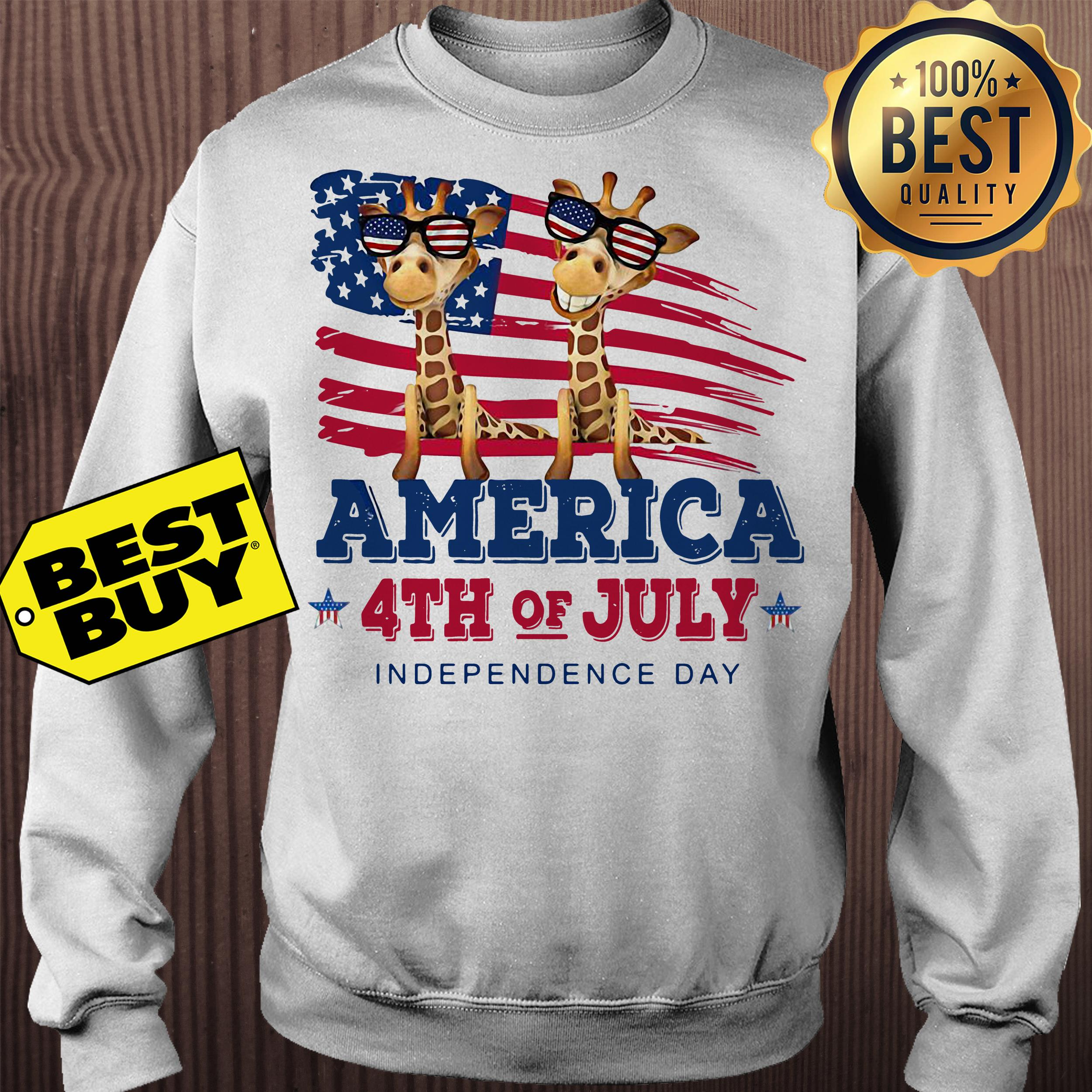 Giraffes America 4th July independence day sweatshirt