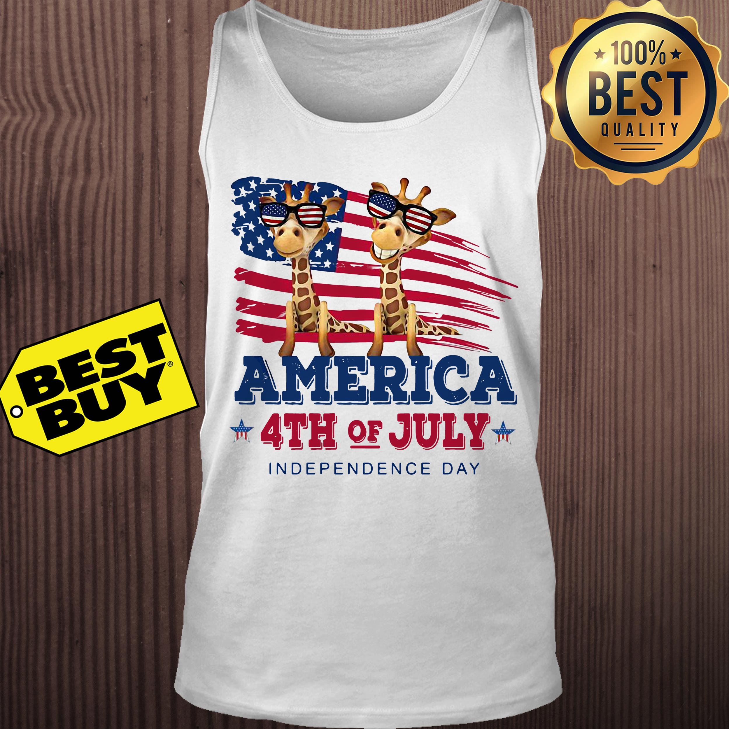 Giraffes America 4th July independence day tank top