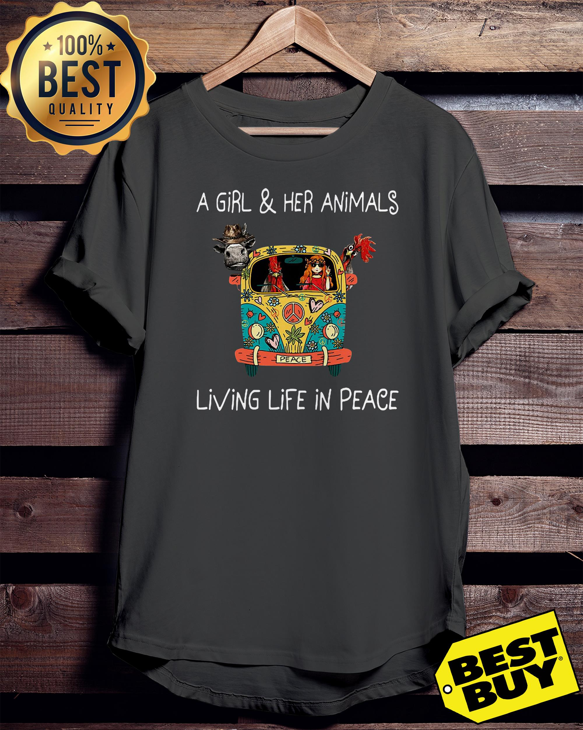 A girl and her animals living life in peace hippie ladies tee