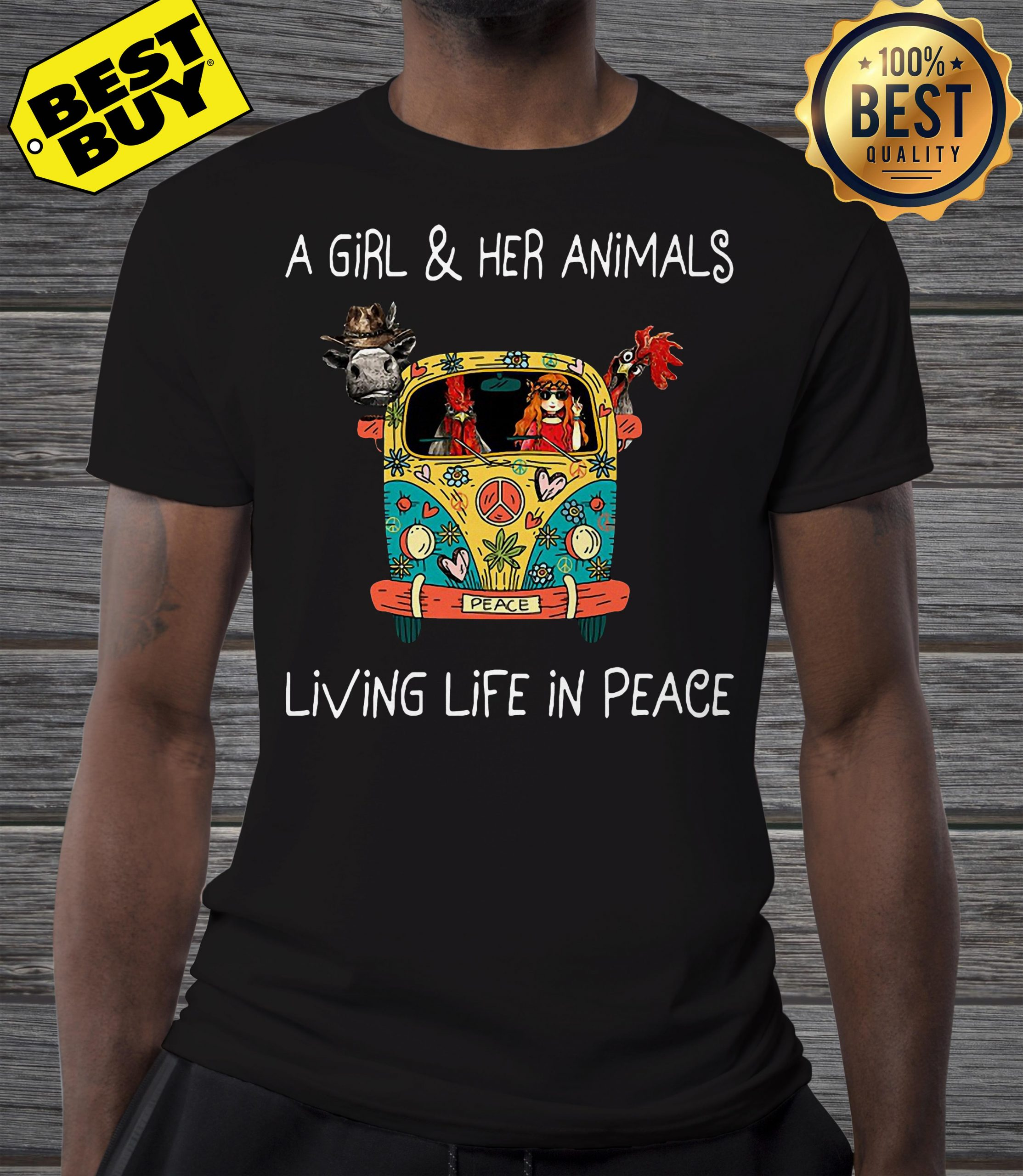 A girl and her animals living life in peace hippie v-neck