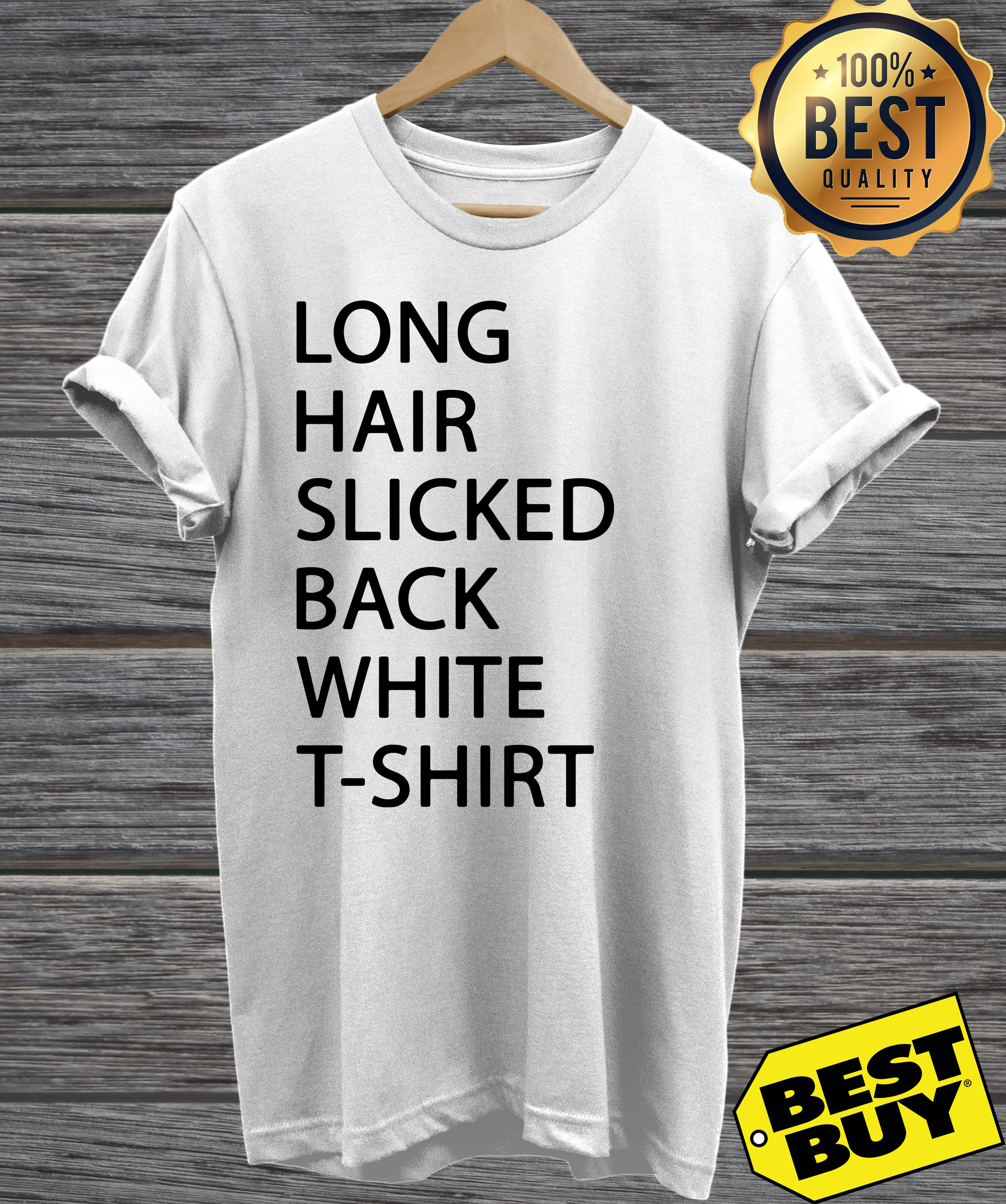 Long hair slicked back white t-shirt v-neck