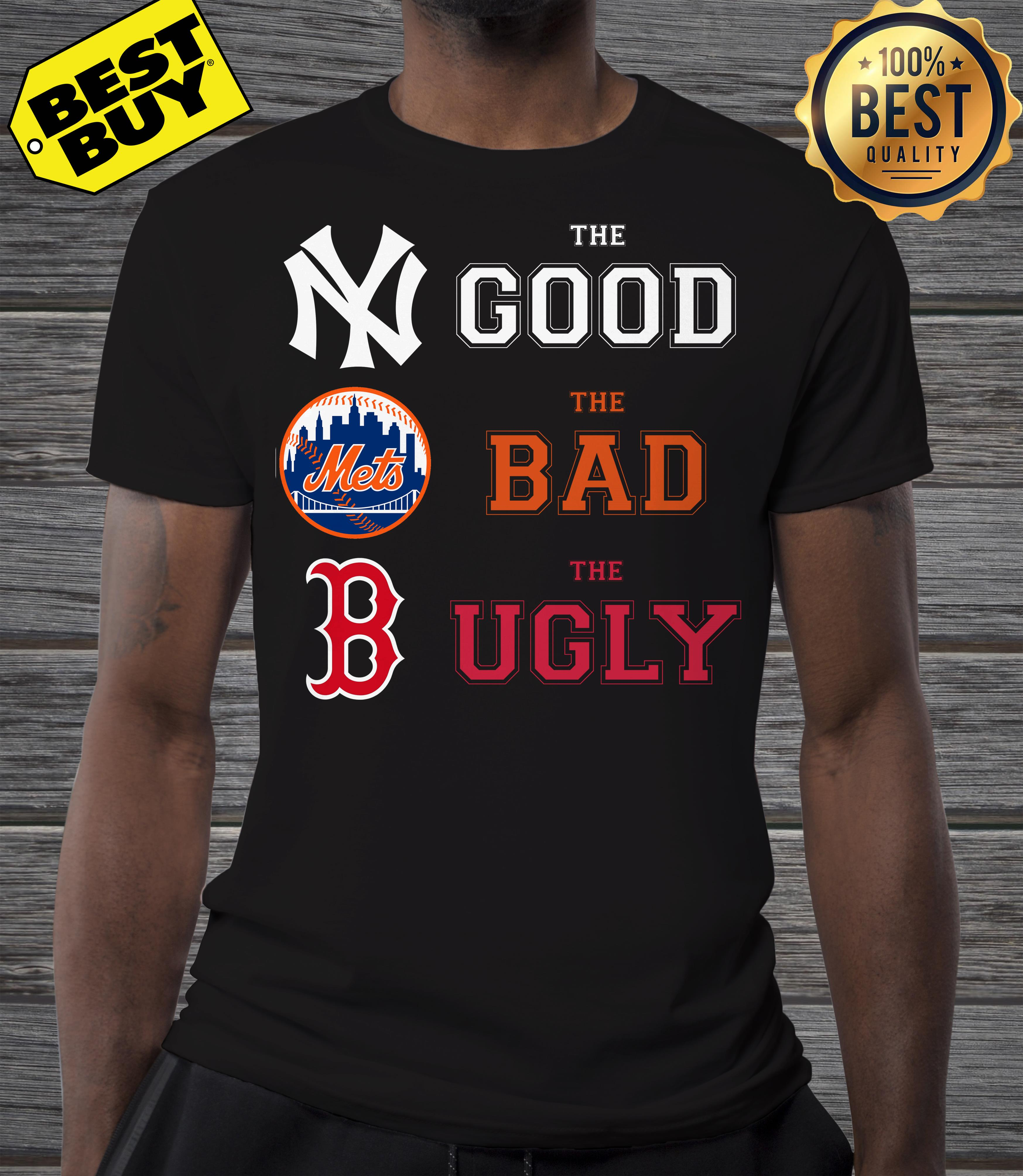 New York Yankees the good Boston Red Sox the bad New York Mets the ugly v-neck