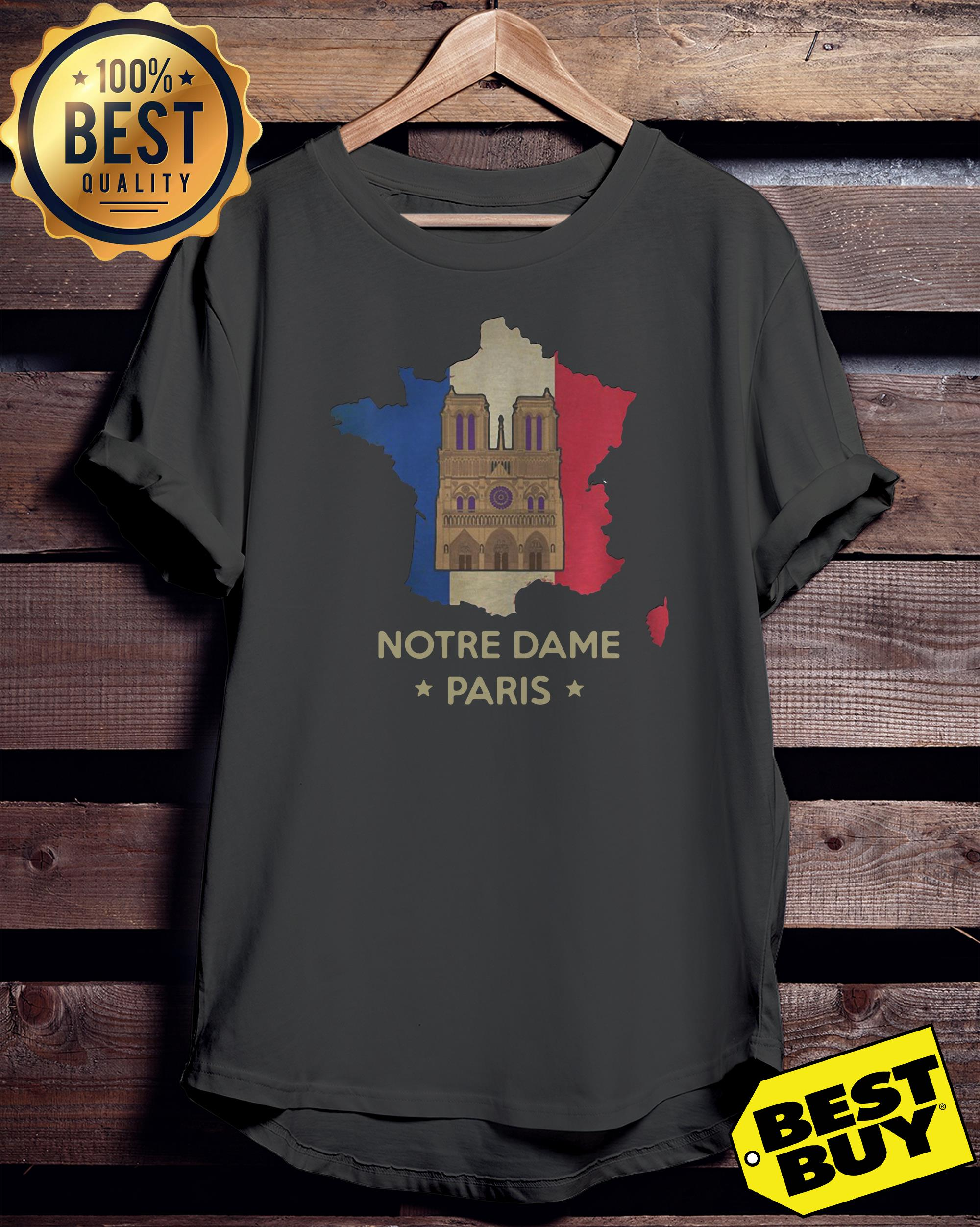 Official Paris France City Notre Dame Cathedral ladies tee