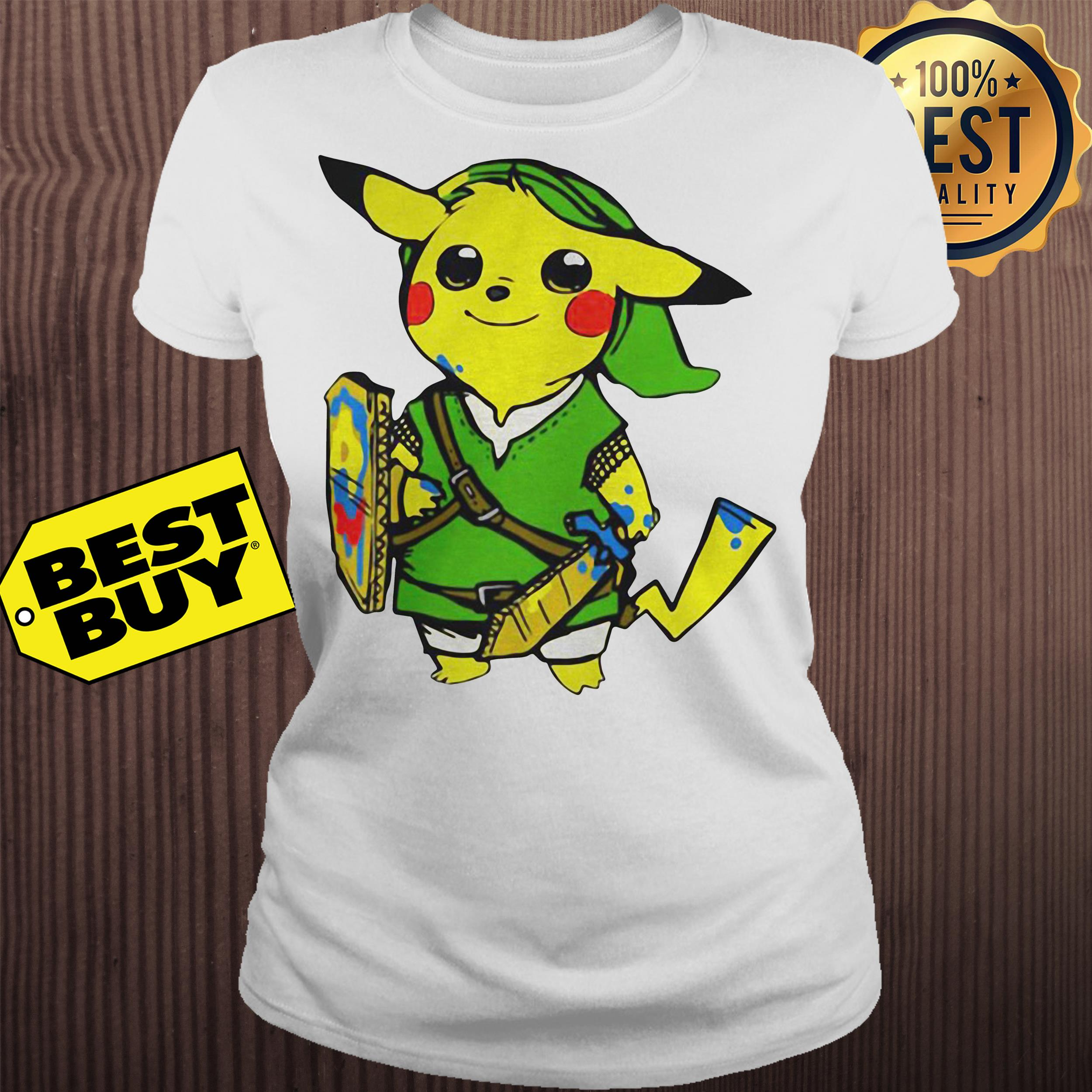 Pikachu link legend of Zelda parody ladies tee