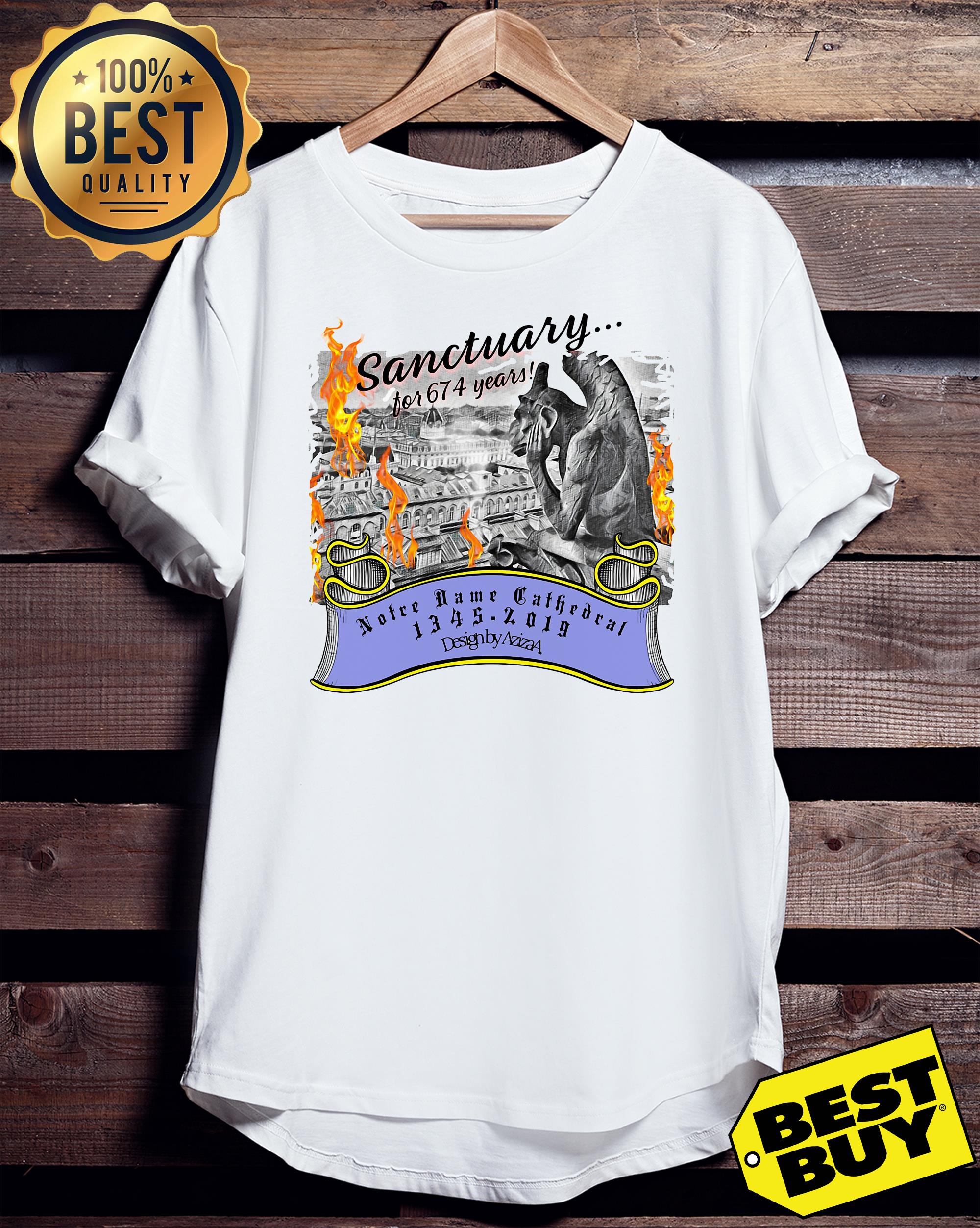 Sanctuary for 674 years Notre Dame Cathedral 1345-2019 Paris ladies tee