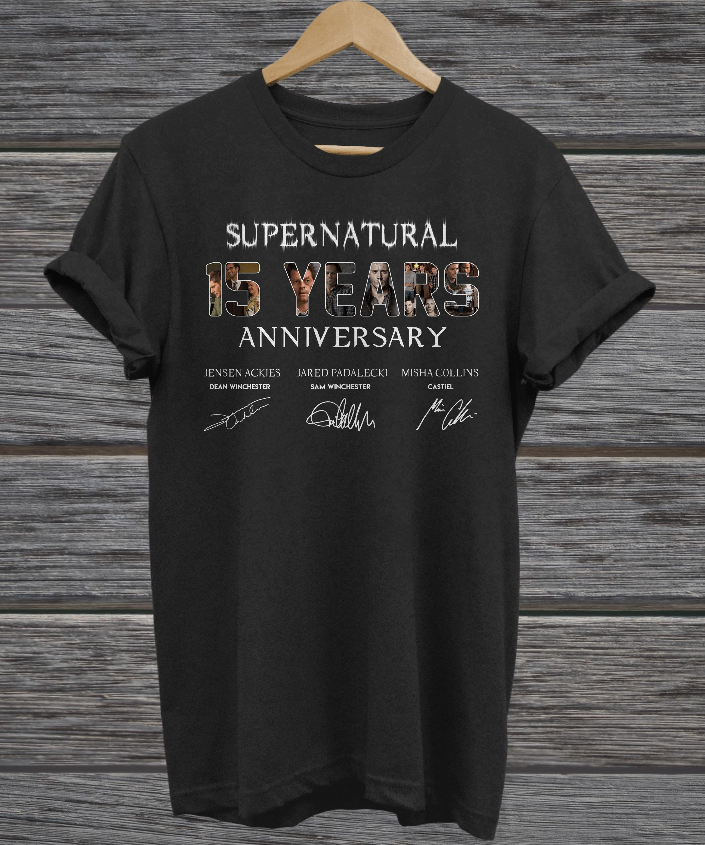 Supernatural 15 Years Anniversary All Signatures ladies tee