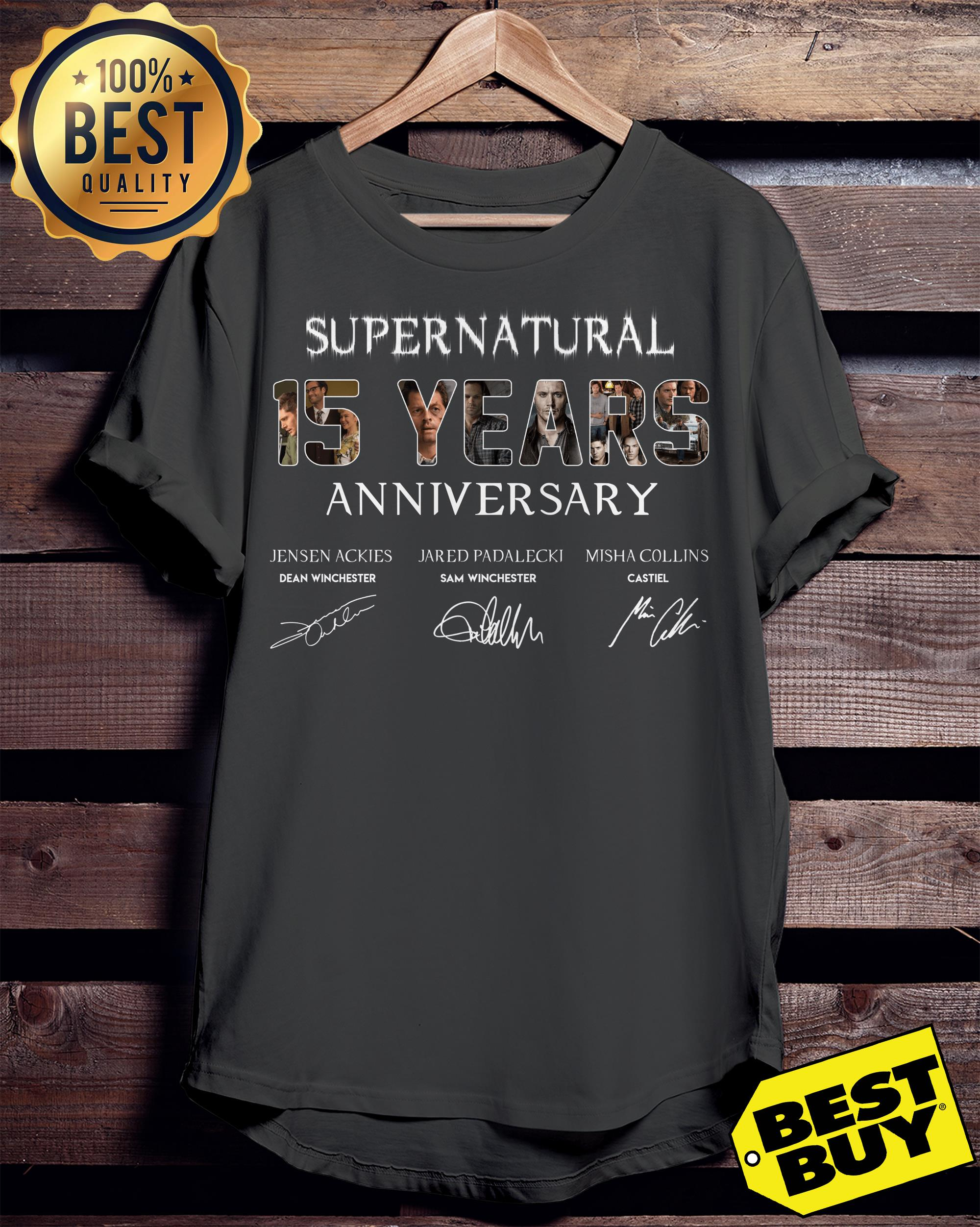 Supernatural 15 Years Anniversary All Signatures tank top