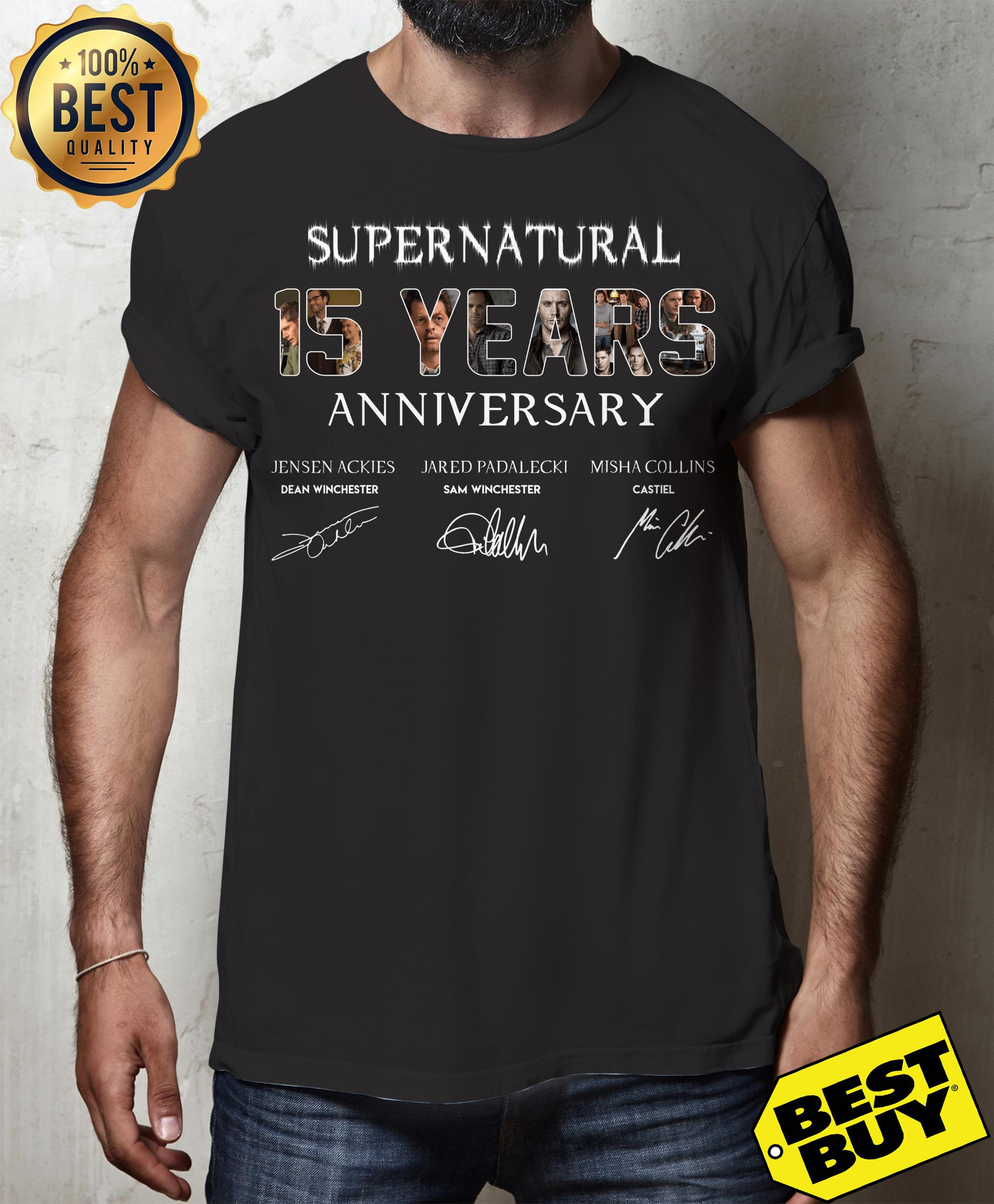 Supernatural 15 Years Anniversary All Signatures v-neck