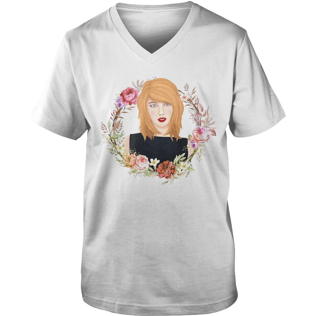 Taylor Swift flowers watercolor v-neck