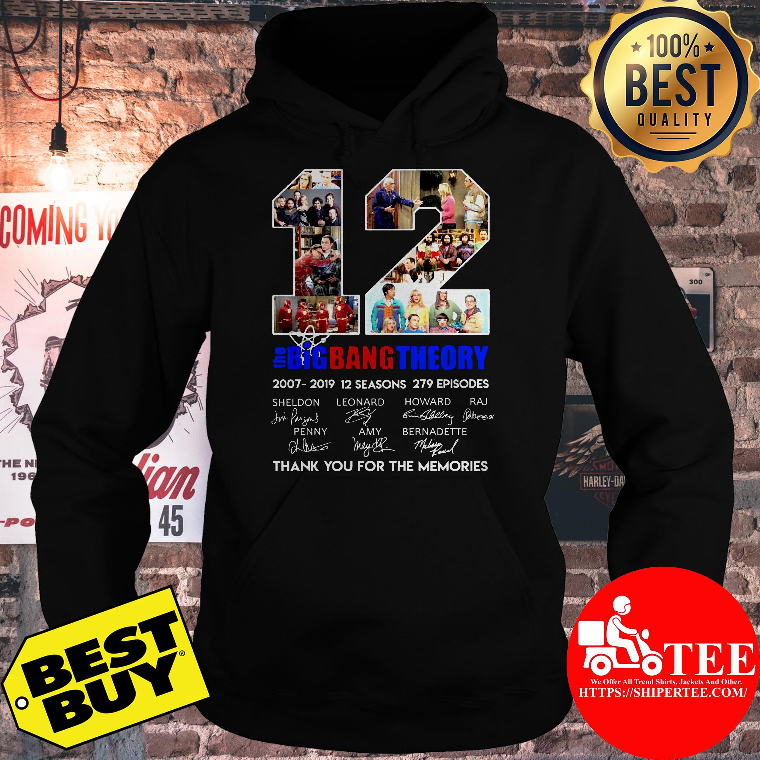 12 the Big Bang theory thank you for the memories hoodie
