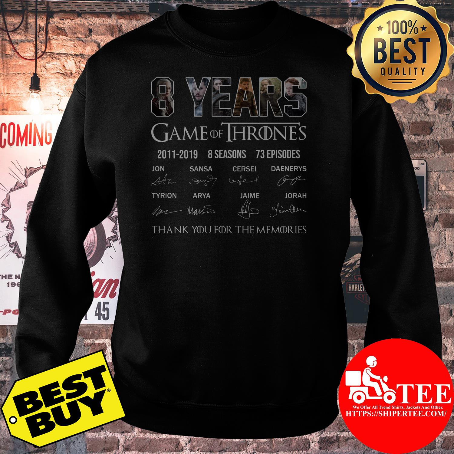 8 years Game Of Thrones 2011 - 2019 Thank you for the memories sweatshirt