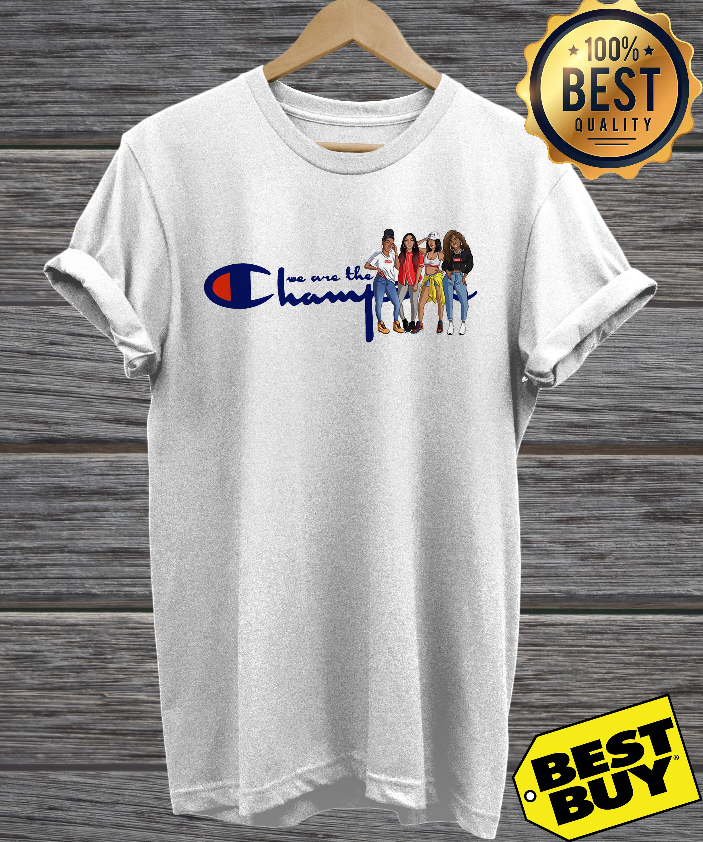African American girl we are the champions v neck