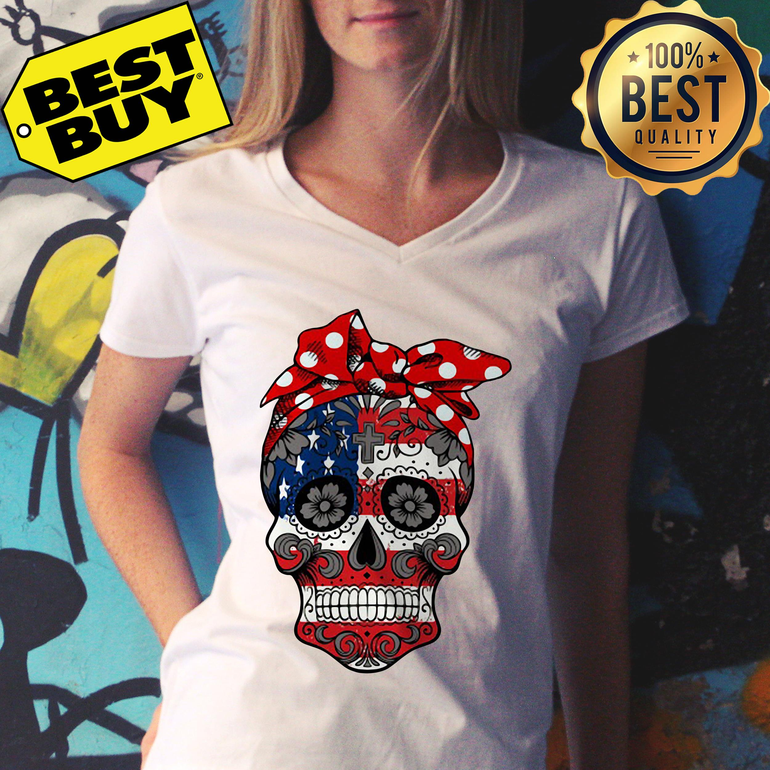 American Flag Sugar Skull with Flowers ladies tee