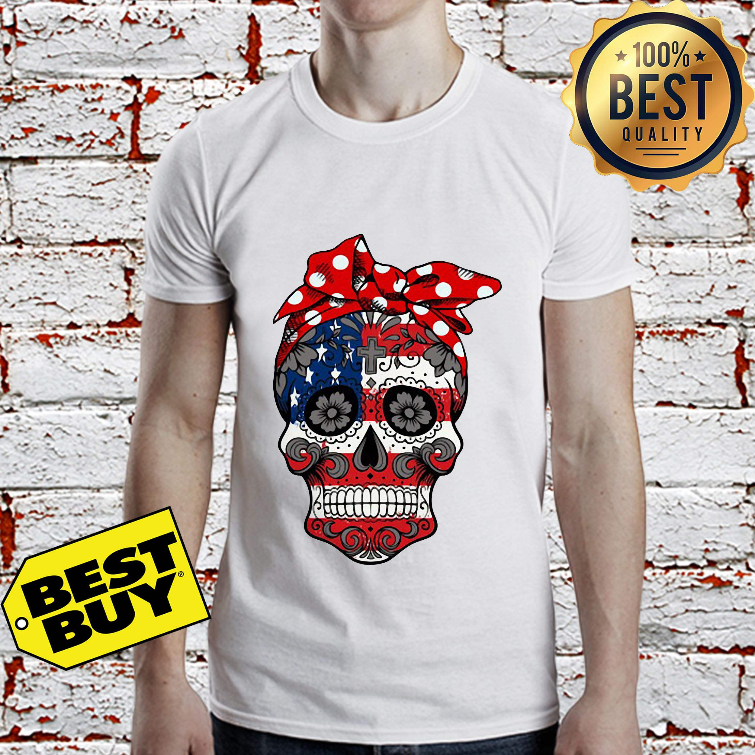 American Flag Sugar Skull with Flowers shirt