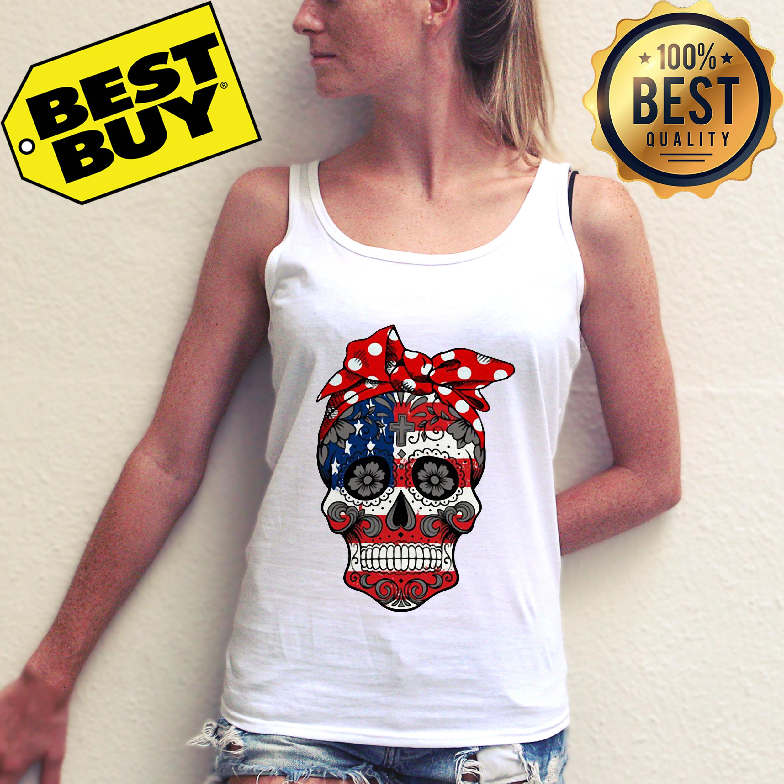 American Flag Sugar Skull with Flowers tank top