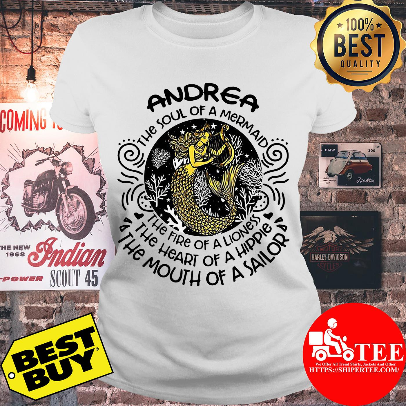 Andrea the soul of mermaid the fire of a lioness ladies tee