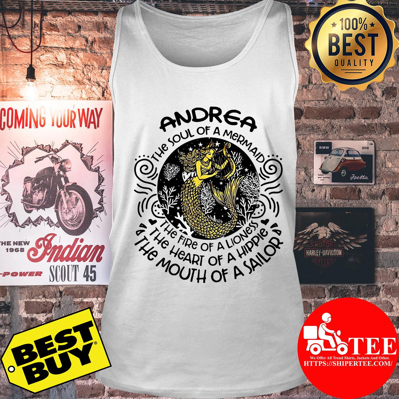 Andrea the soul of mermaid the fire of a lioness tank top