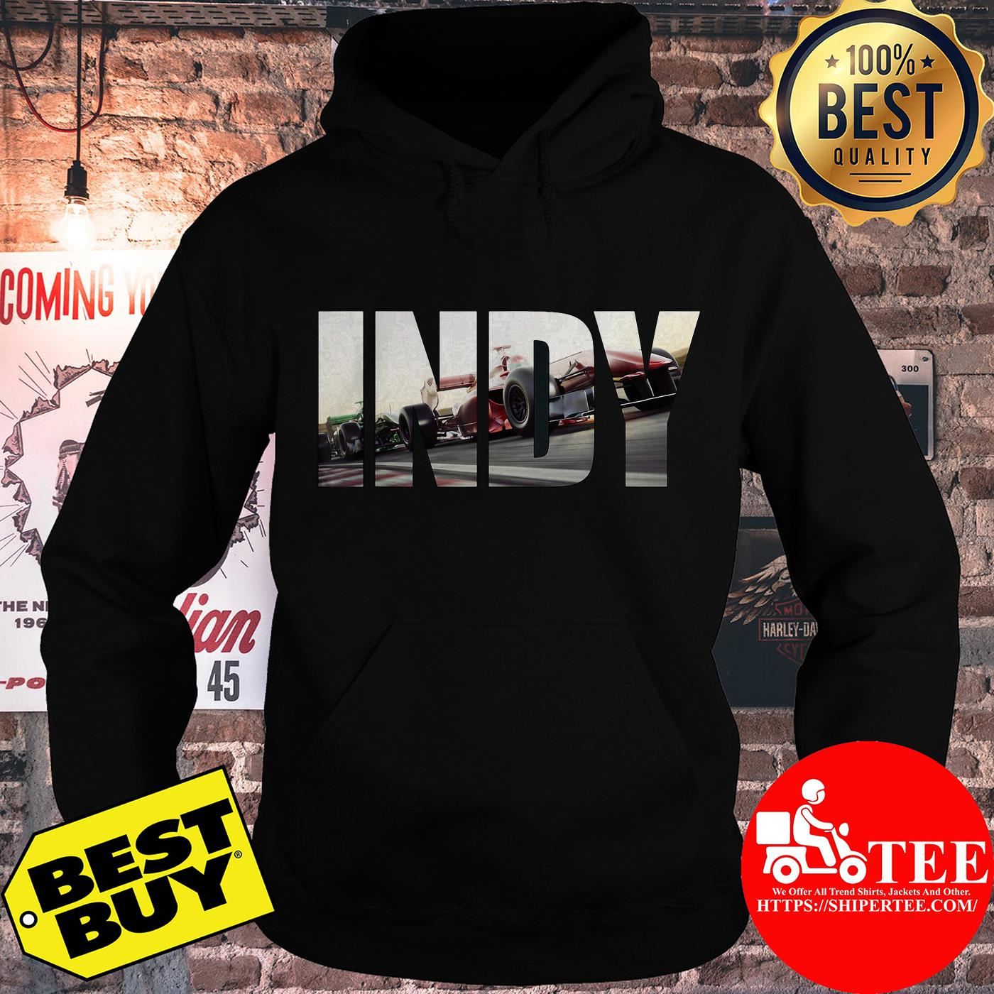 Awesome I N D Y with cars Racing hoodie