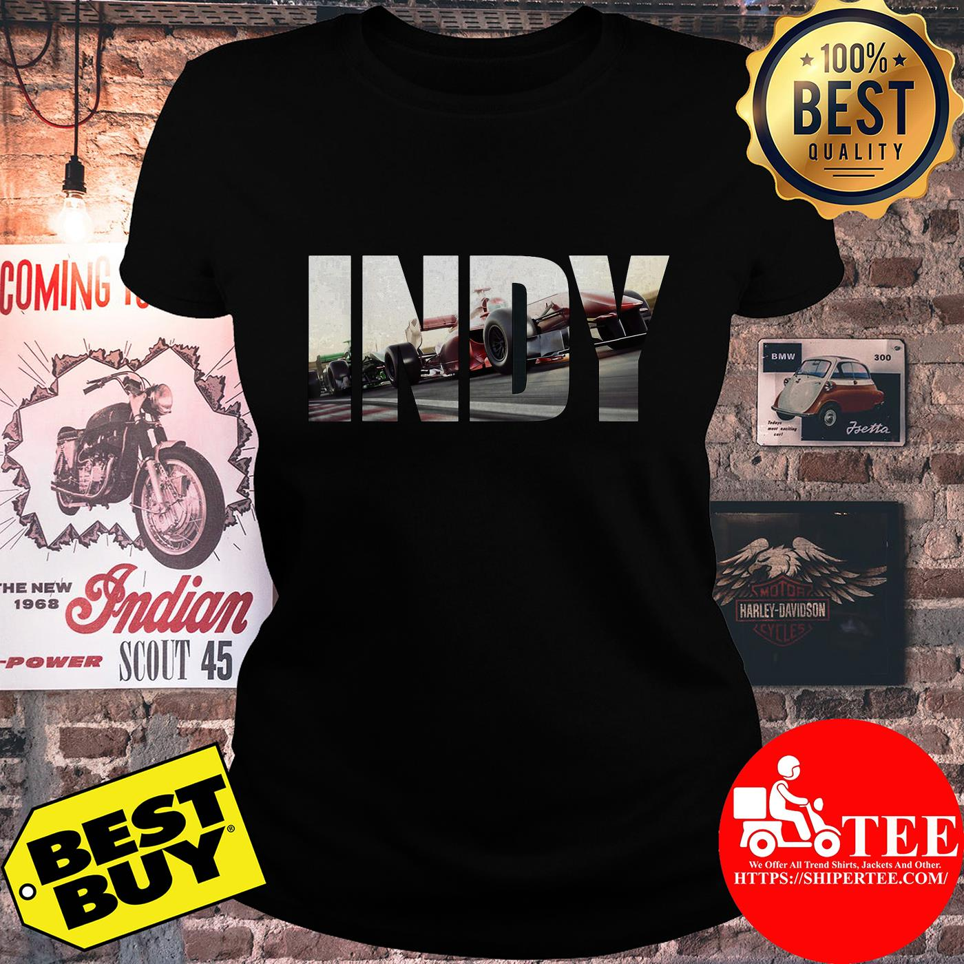 Awesome I N D Y with cars Racing ladies tee