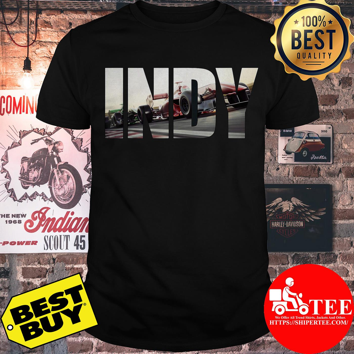 Awesome I N D Y with cars Racing shirt
