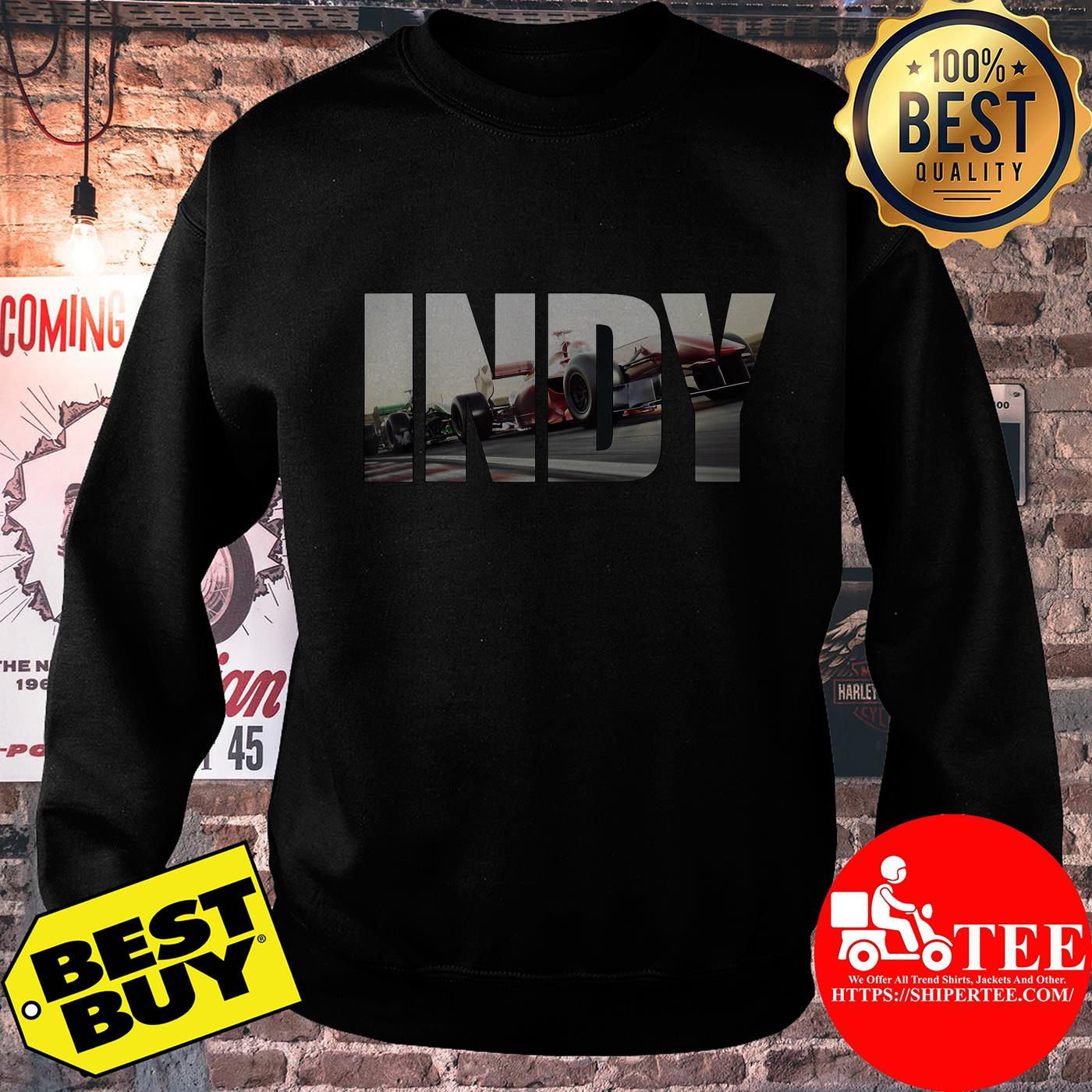 Awesome I N D Y with cars Racing sweatshirt