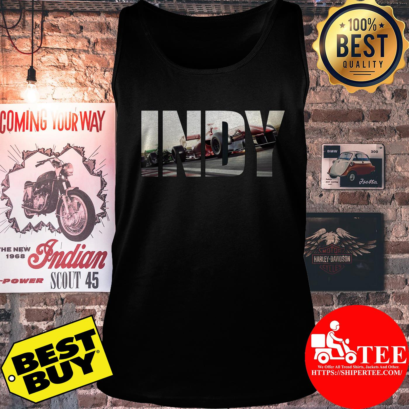 Awesome I N D Y with cars Racing tank top