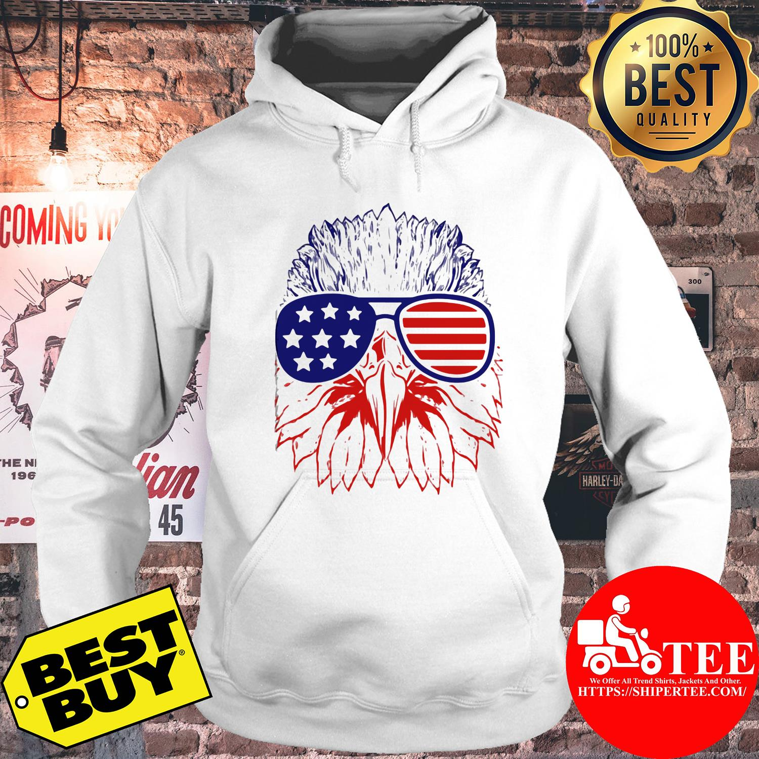 Bald eagle American flag with glasses hoodie
