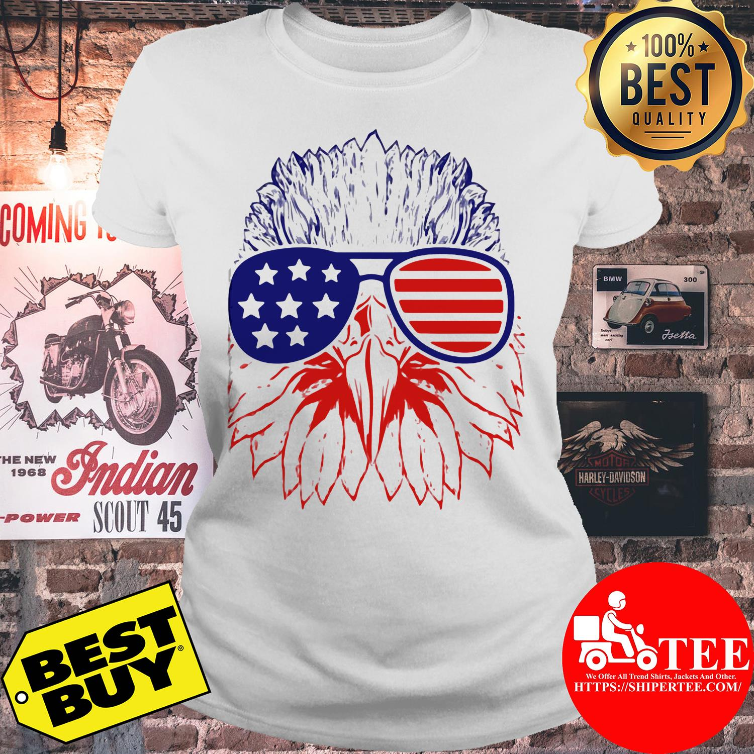 Bald eagle American flag with glasses ladies tee