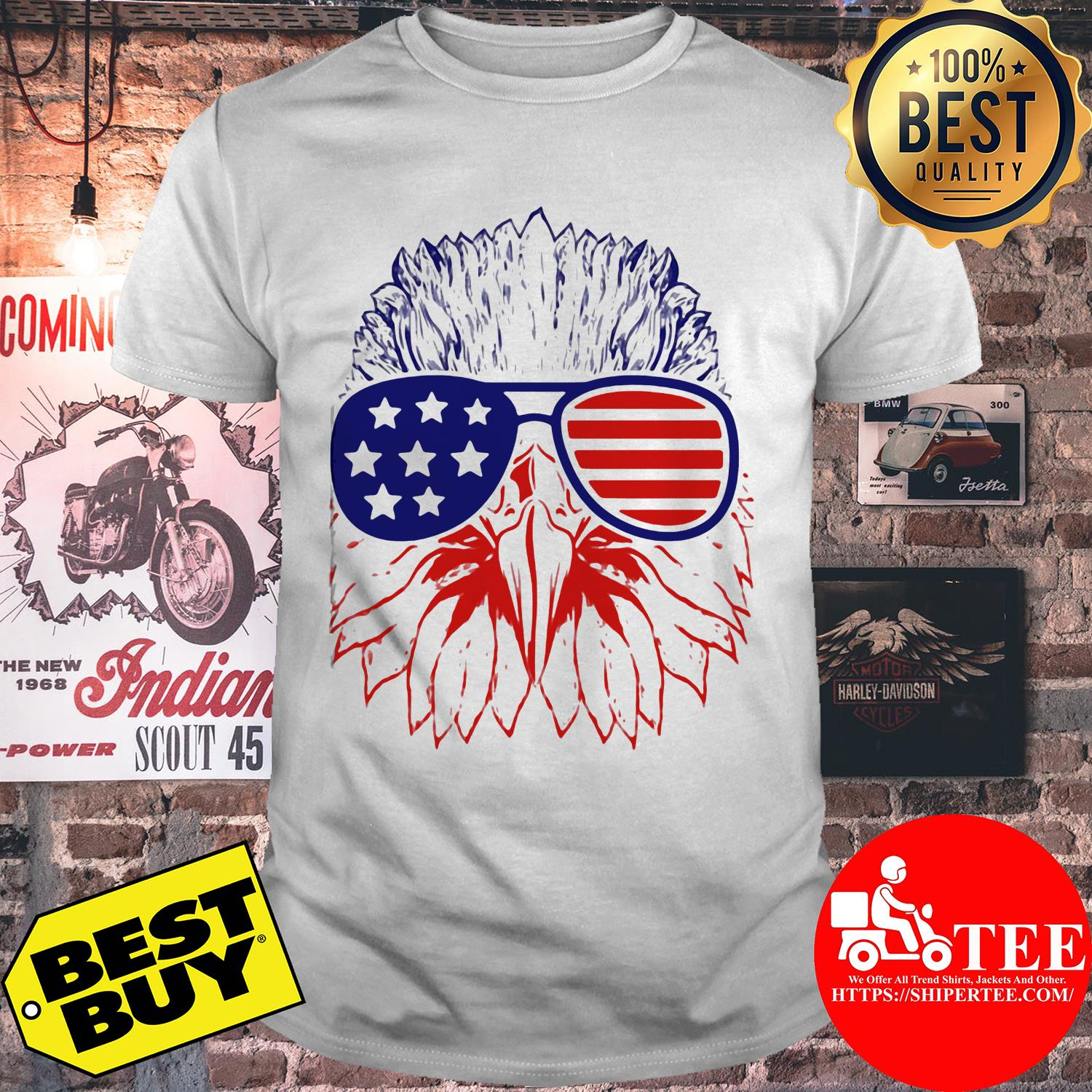 Bald eagle American flag with glasses shirt
