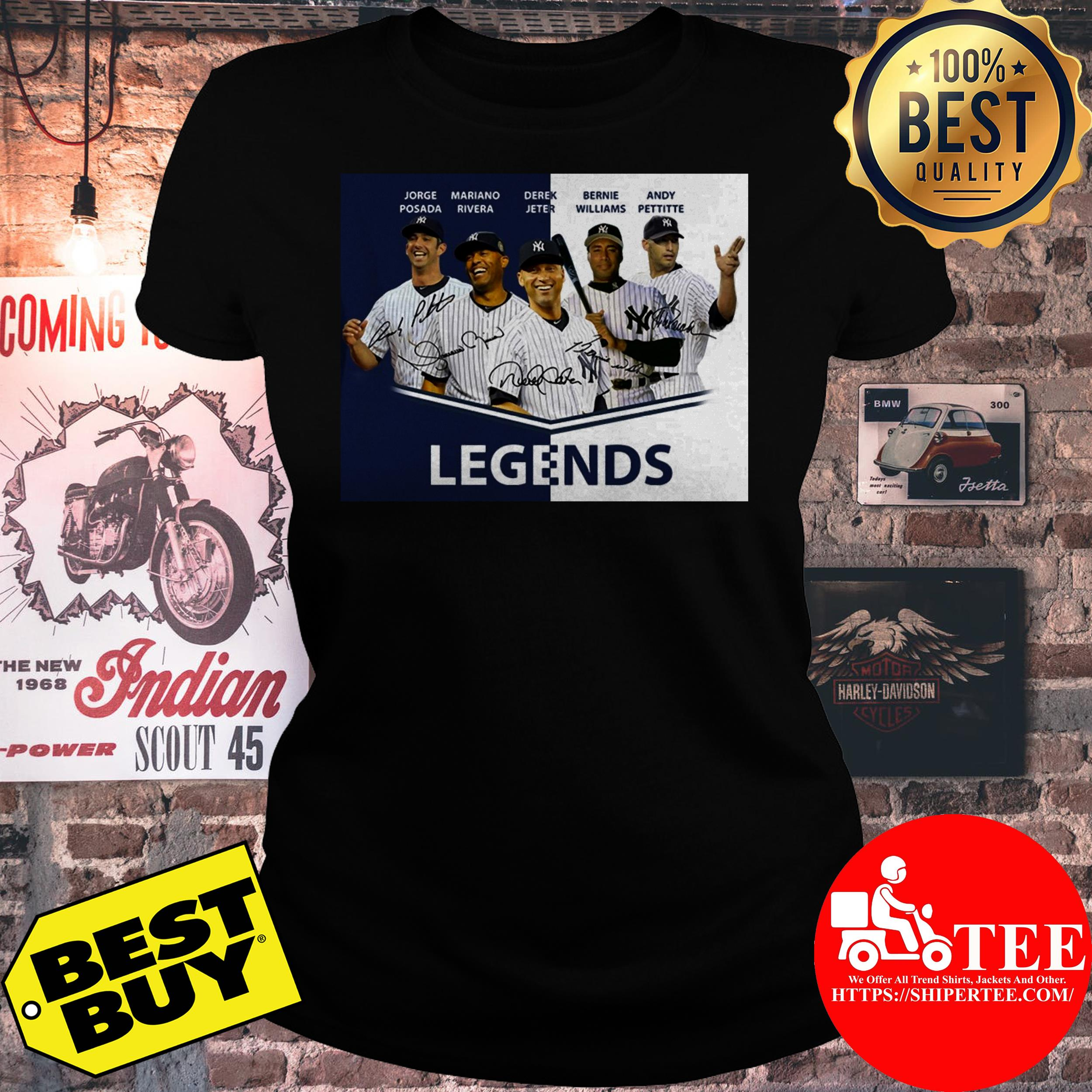 Baseball Yankees Derek Jeter Jorge Posada Mariano Rivera Andy Pettitte legends ladies tee