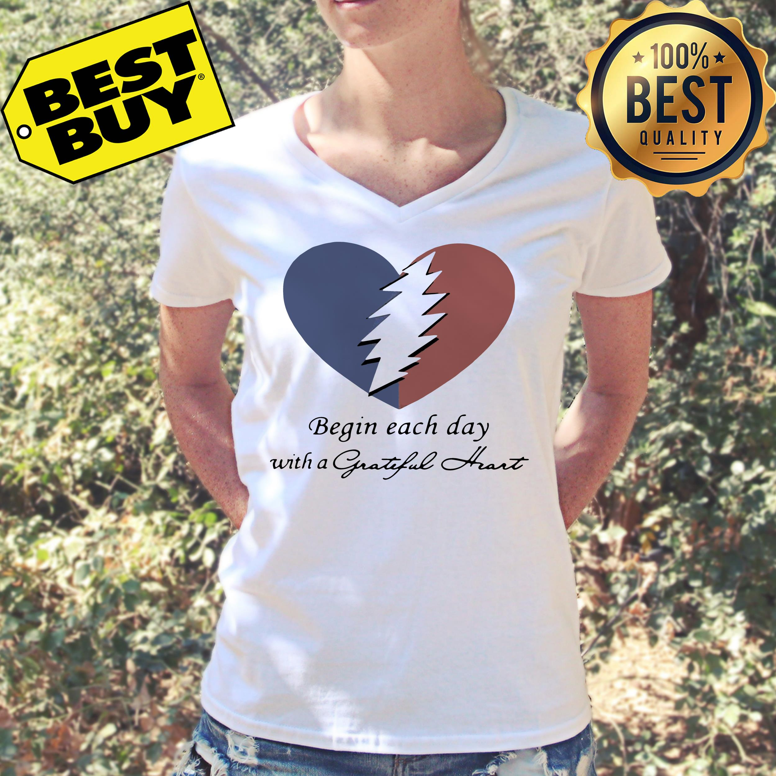 Begin each day with a grateful heart v-neck