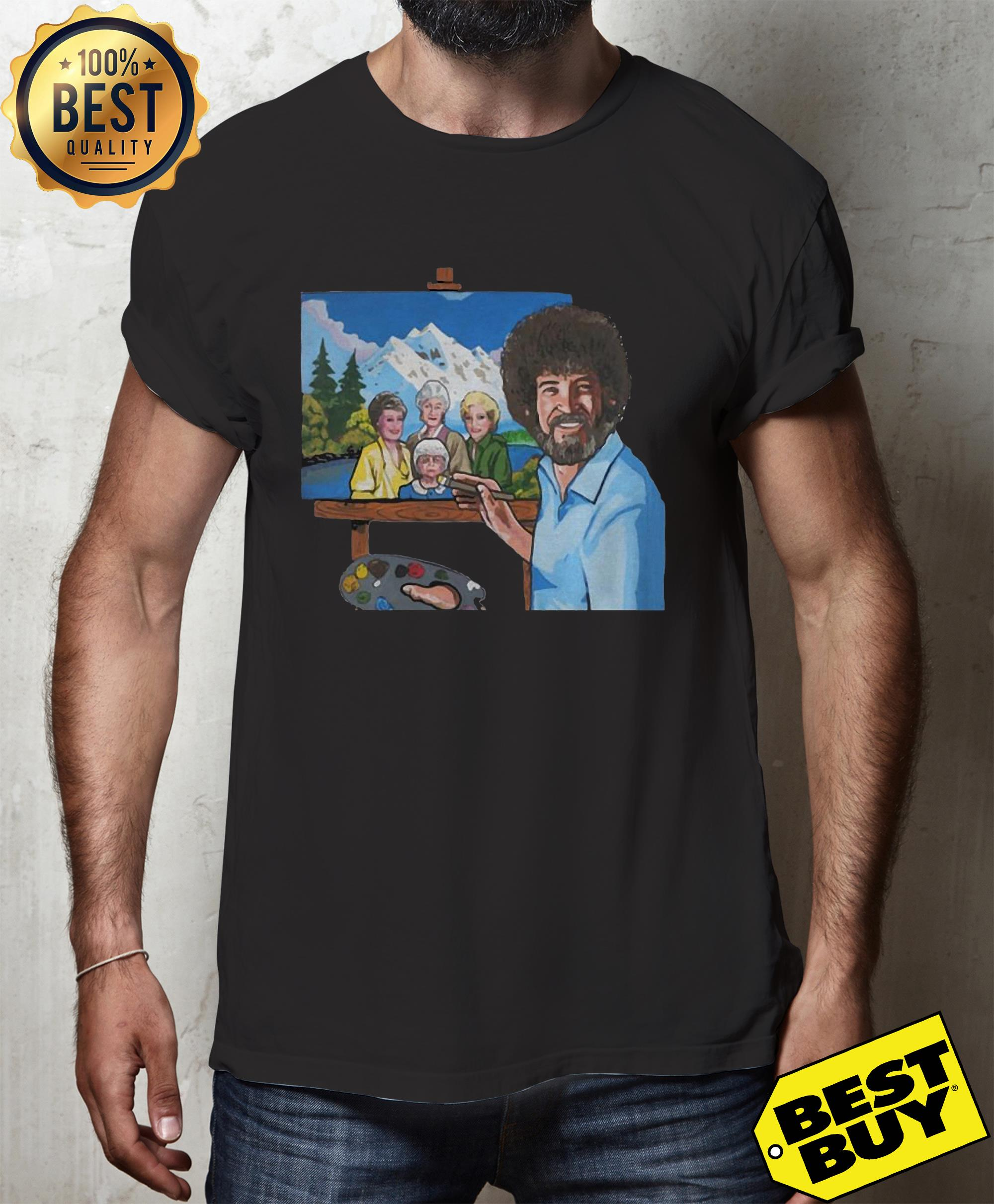 Bob Ross painting the golden girl hoodie