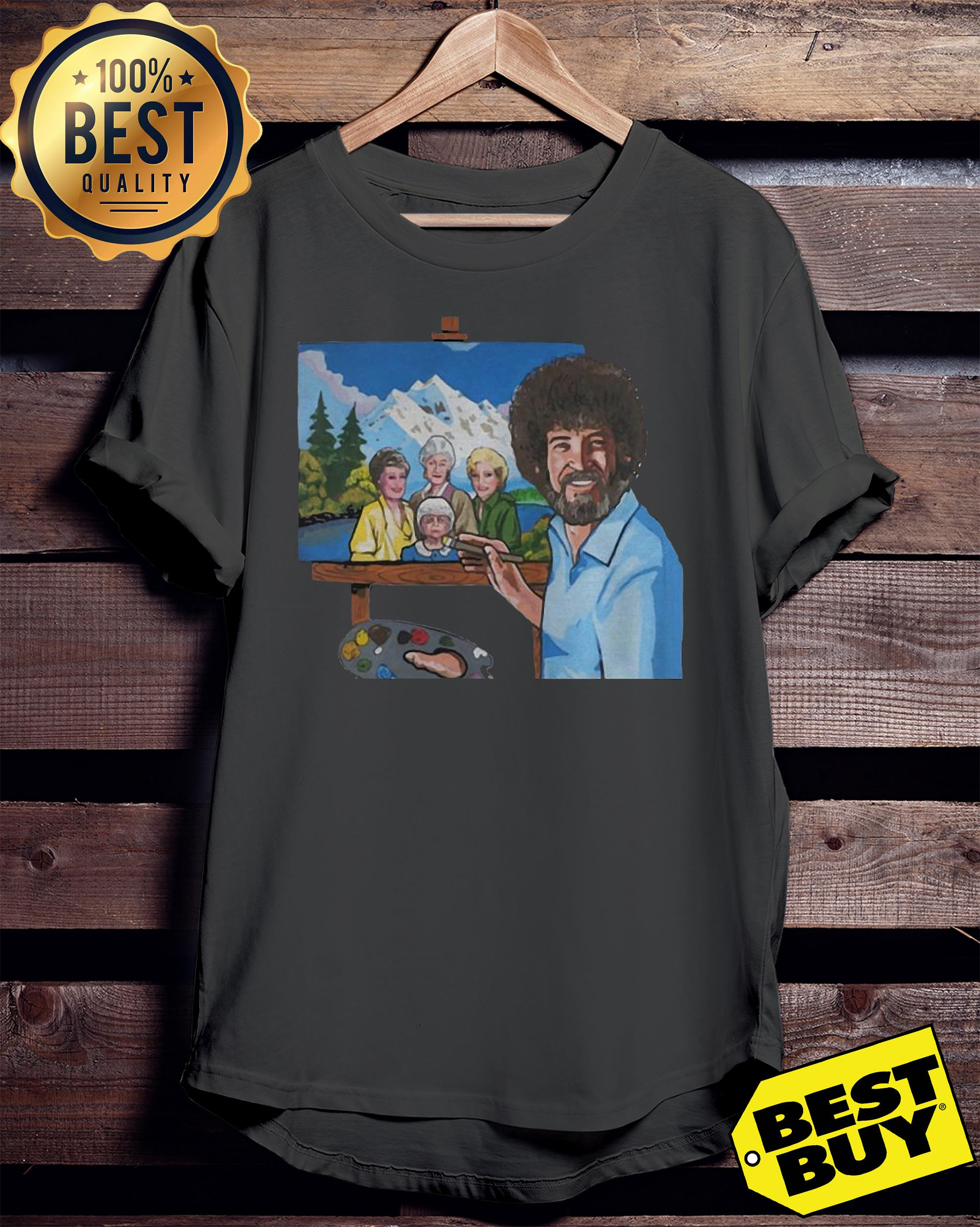 Bob Ross painting the golden girl ladies tee