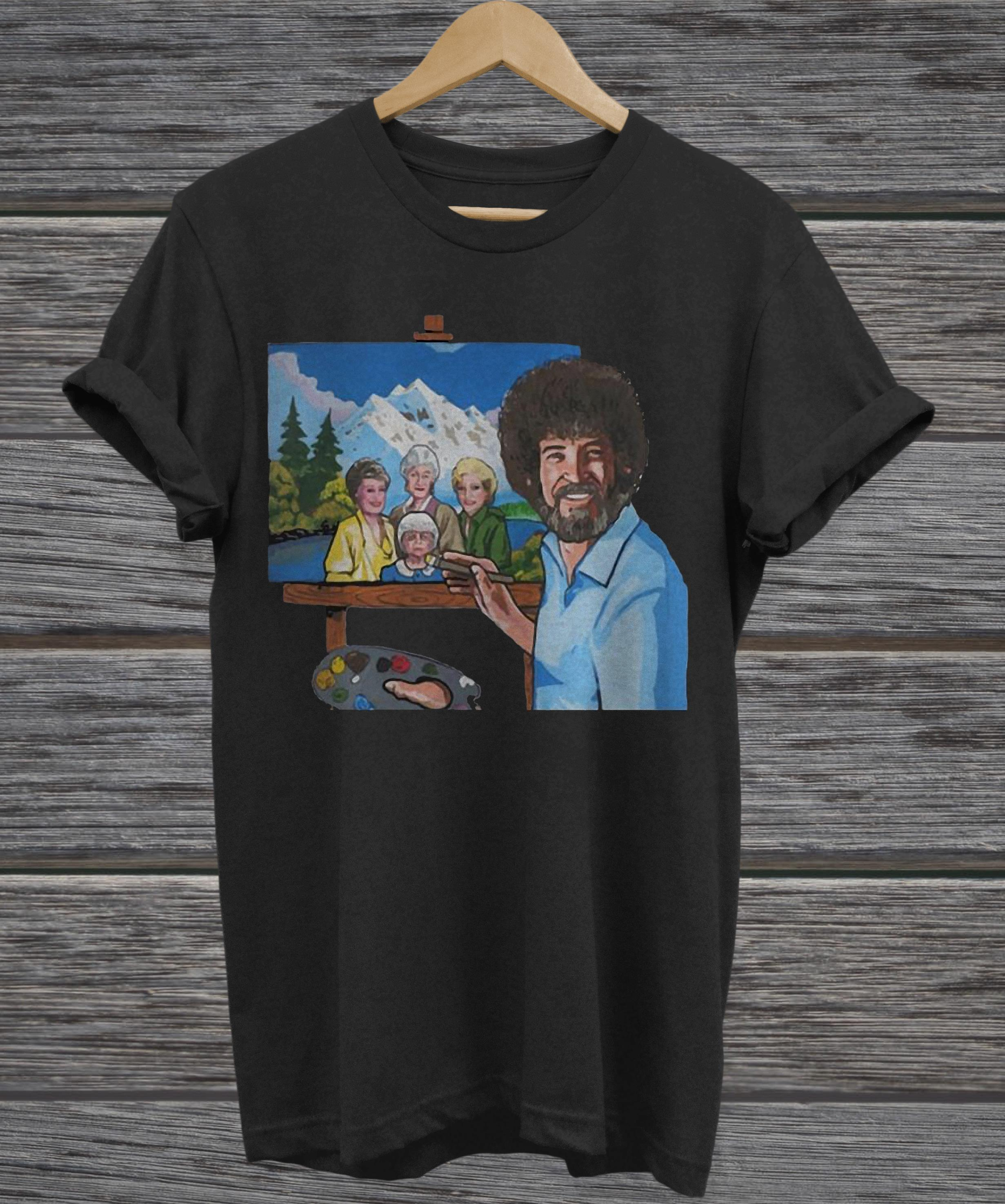 Bob Ross painting the golden girl v-neck