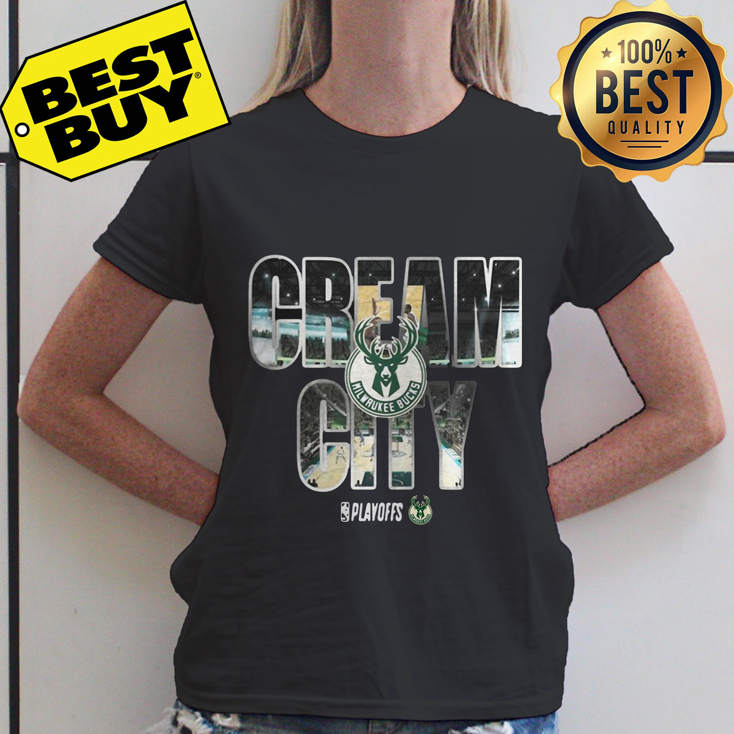 Cream city milwaukee bucks playoffs ladies tee