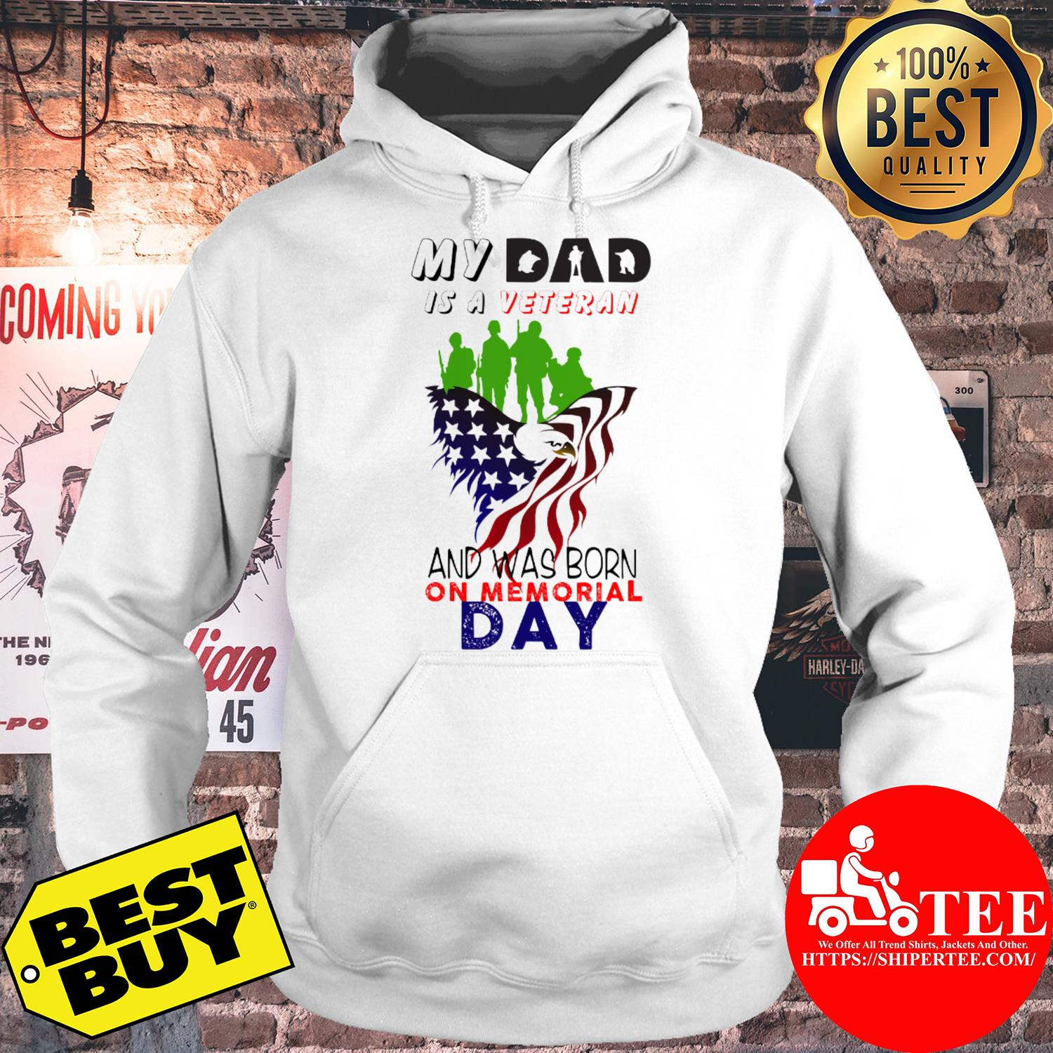 My dad is a veteran and was born on memorial day hoodie