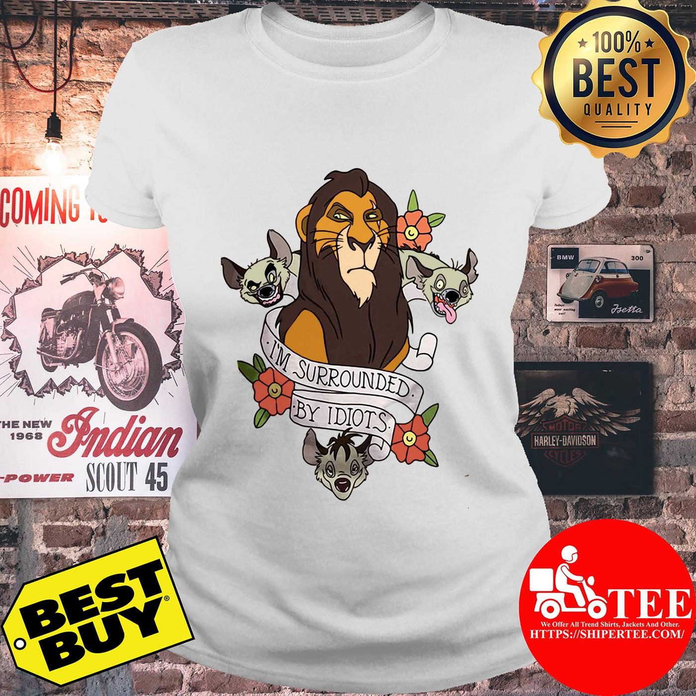 Disney The Lion King Scar Surrounded by Idiots Tattoo Flowers ladies tee