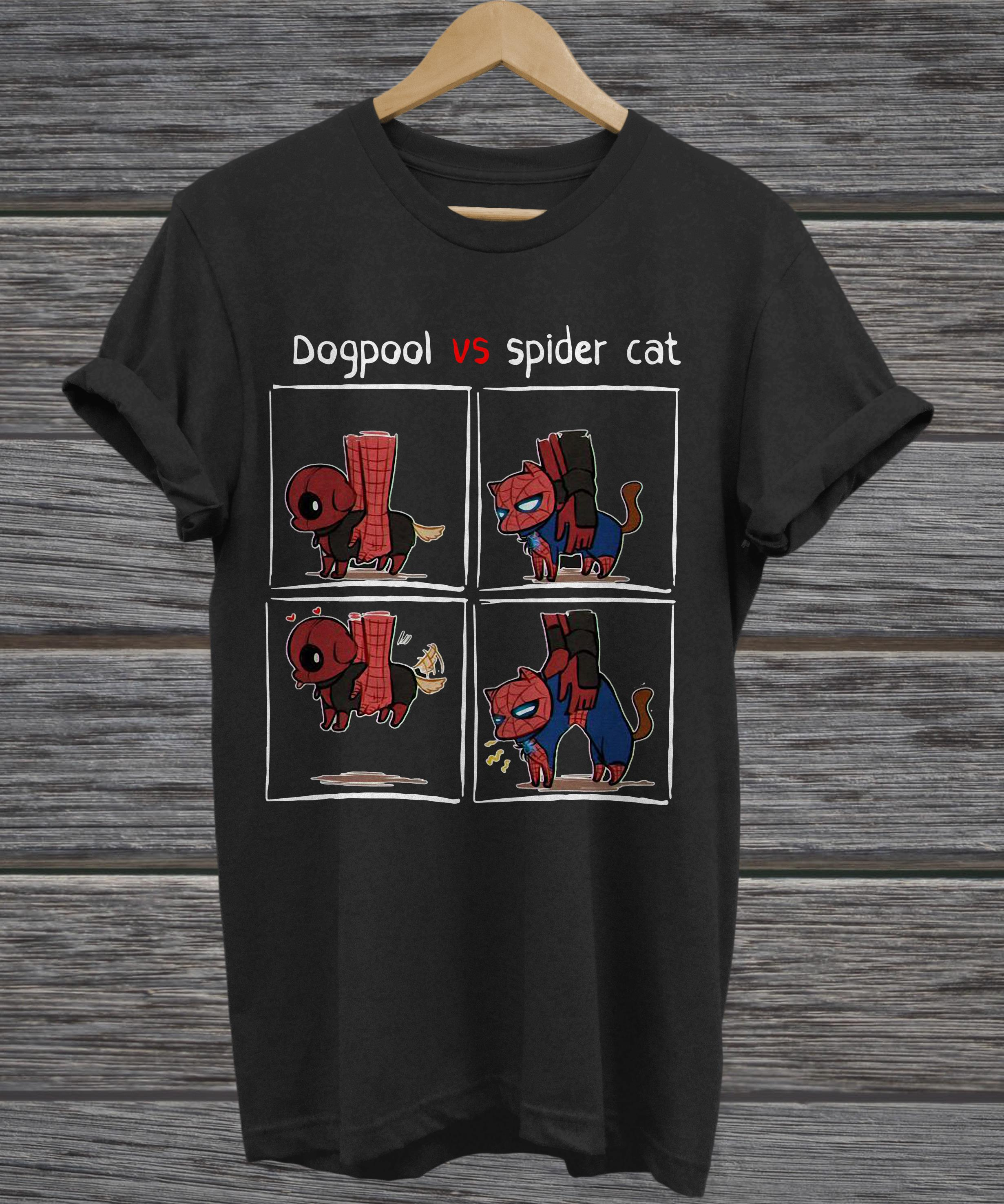 Dogpool and Spider Cat Deadpool and Spiderman v-neck