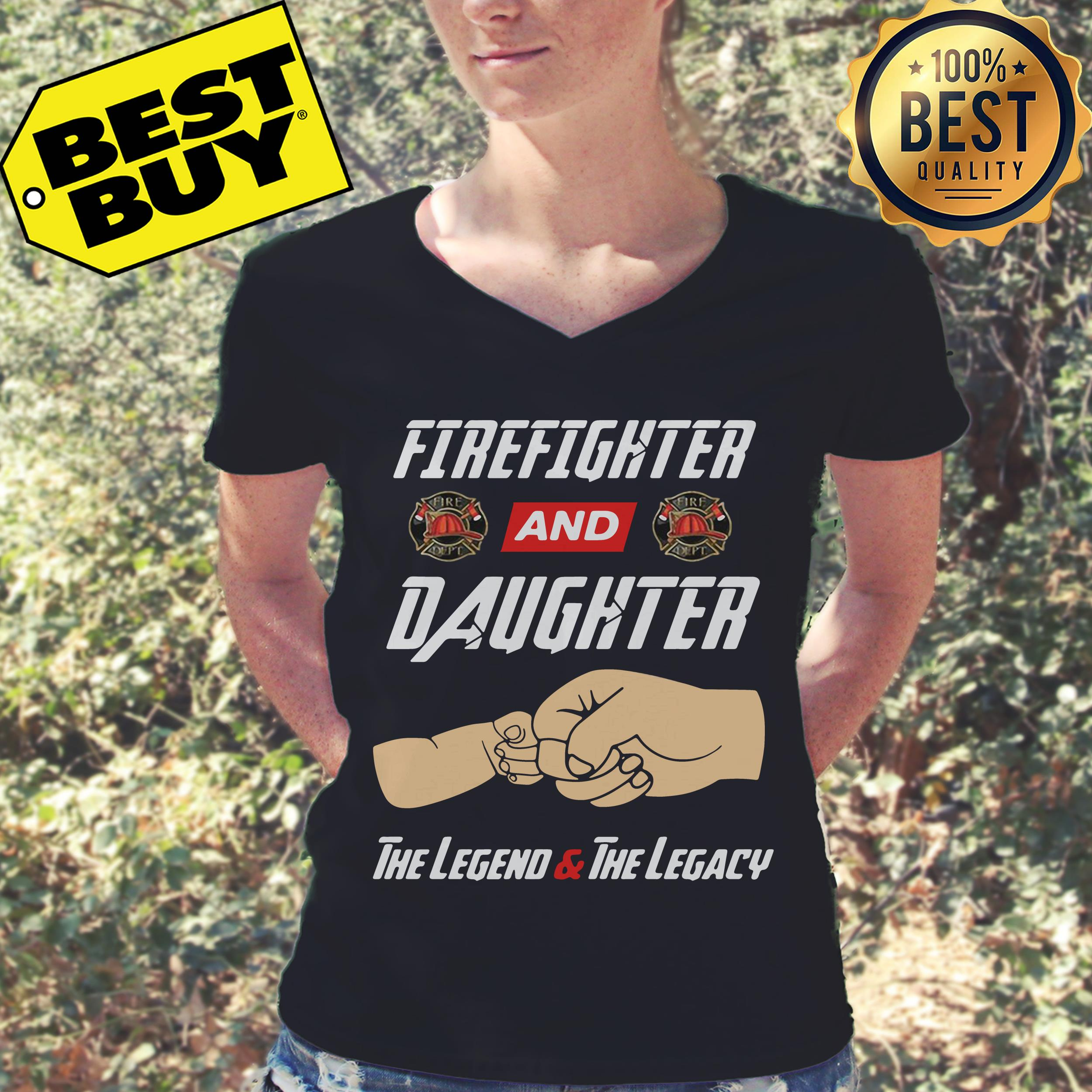 Firefighter and daughter the legend and the legacy v-neck