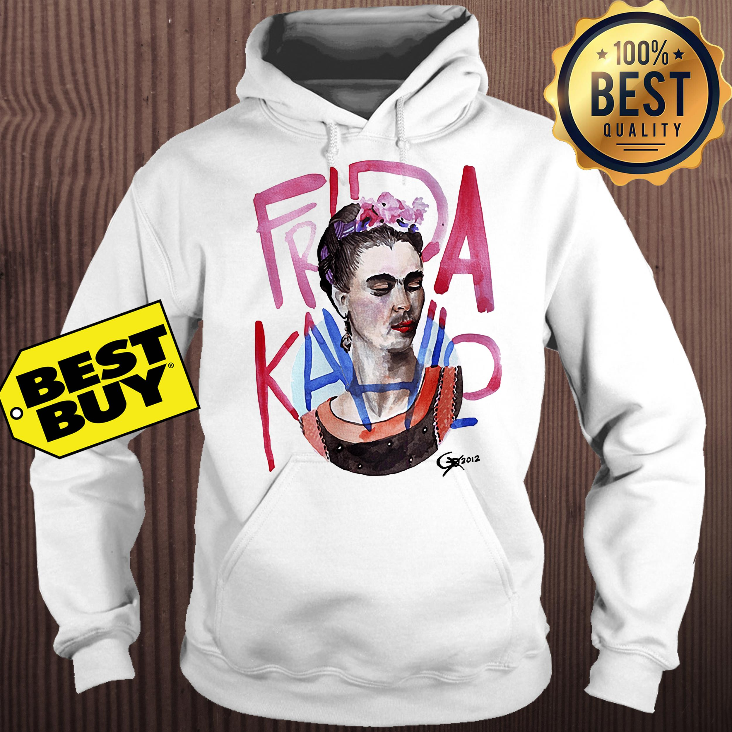 Frida Kahlo self-portrait with pink flowers hoodie