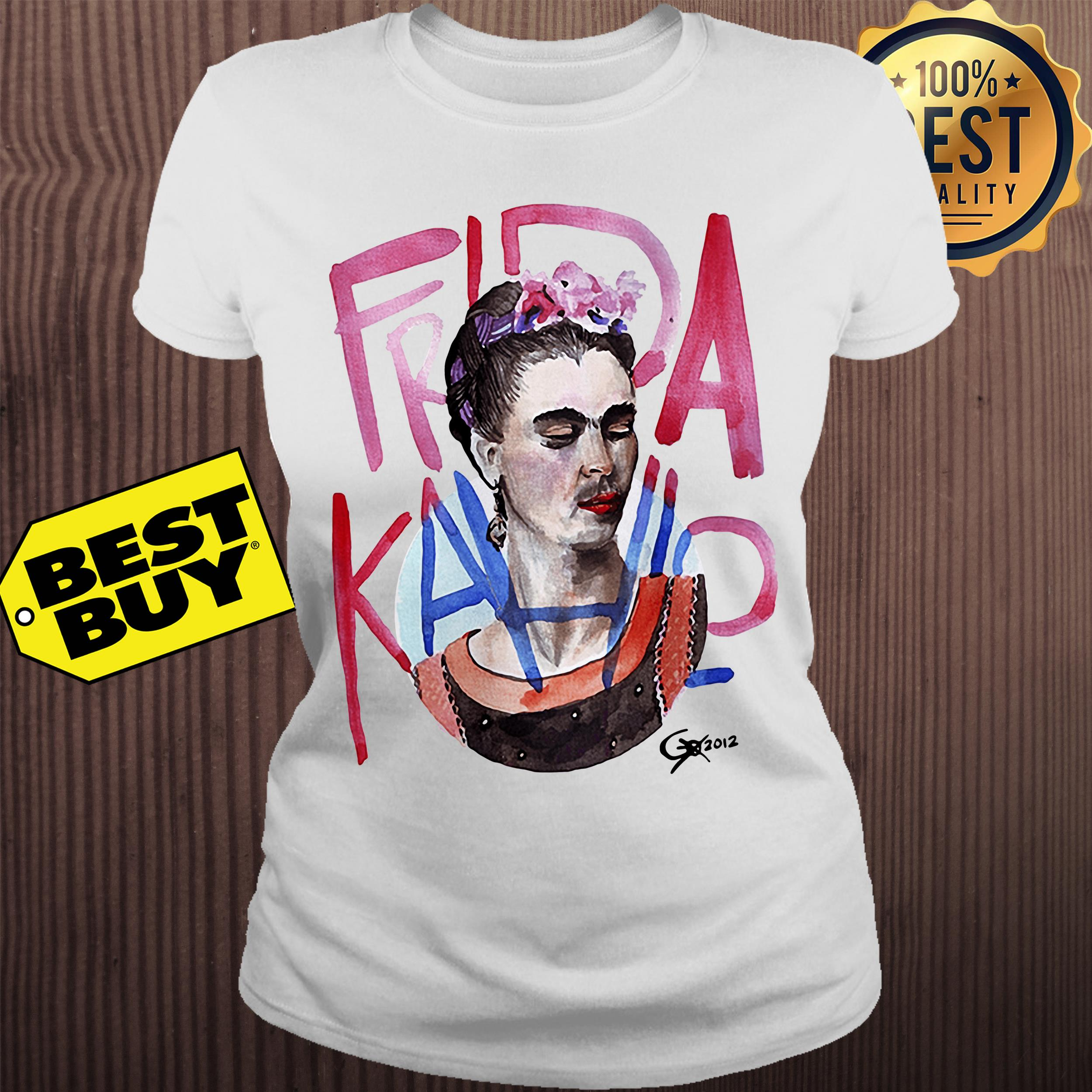 Frida Kahlo self-portrait with pink flowers ladies tee
