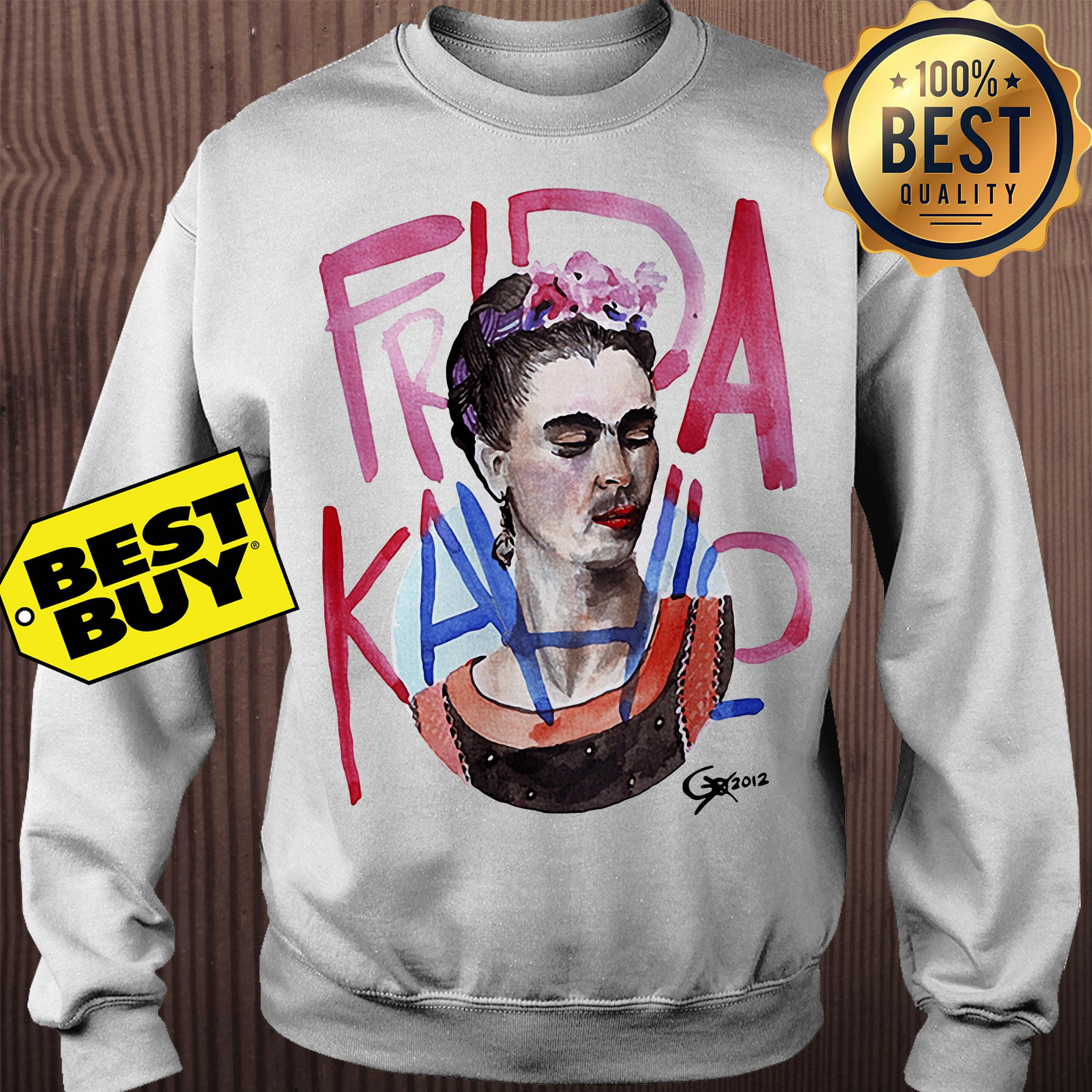 Frida Kahlo self-portrait with pink flowers sweatshirt