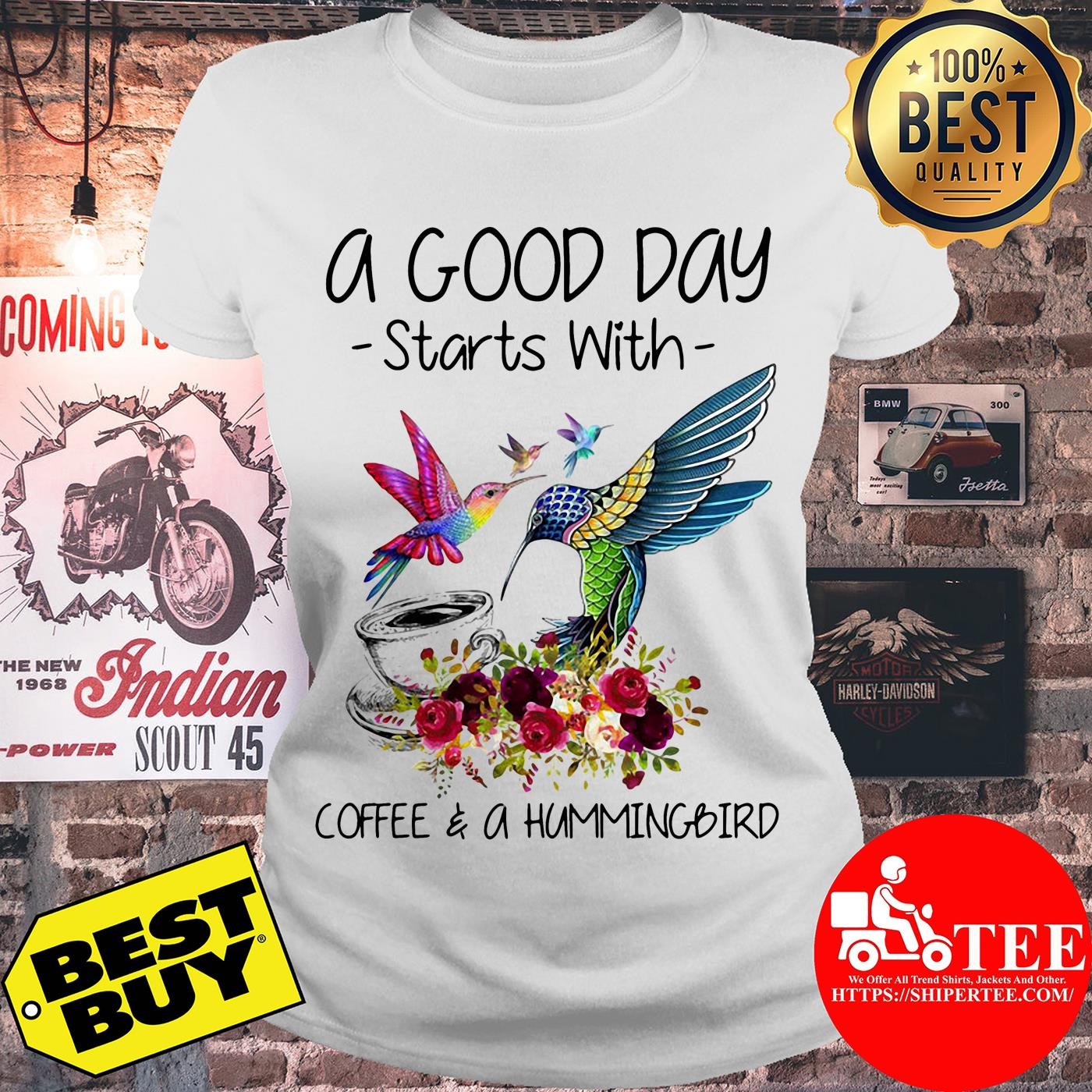 A good way start with coffee and a hummingbird flowers ladies tee